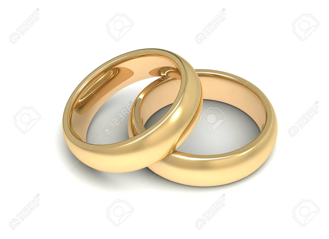 Golden Wedding Rings 3d Illustration Isolated On White Background