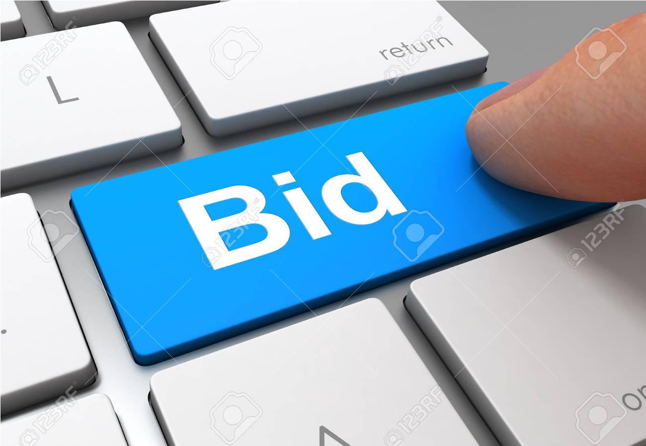 pushing bid button key concept 3d illustration - 104718723