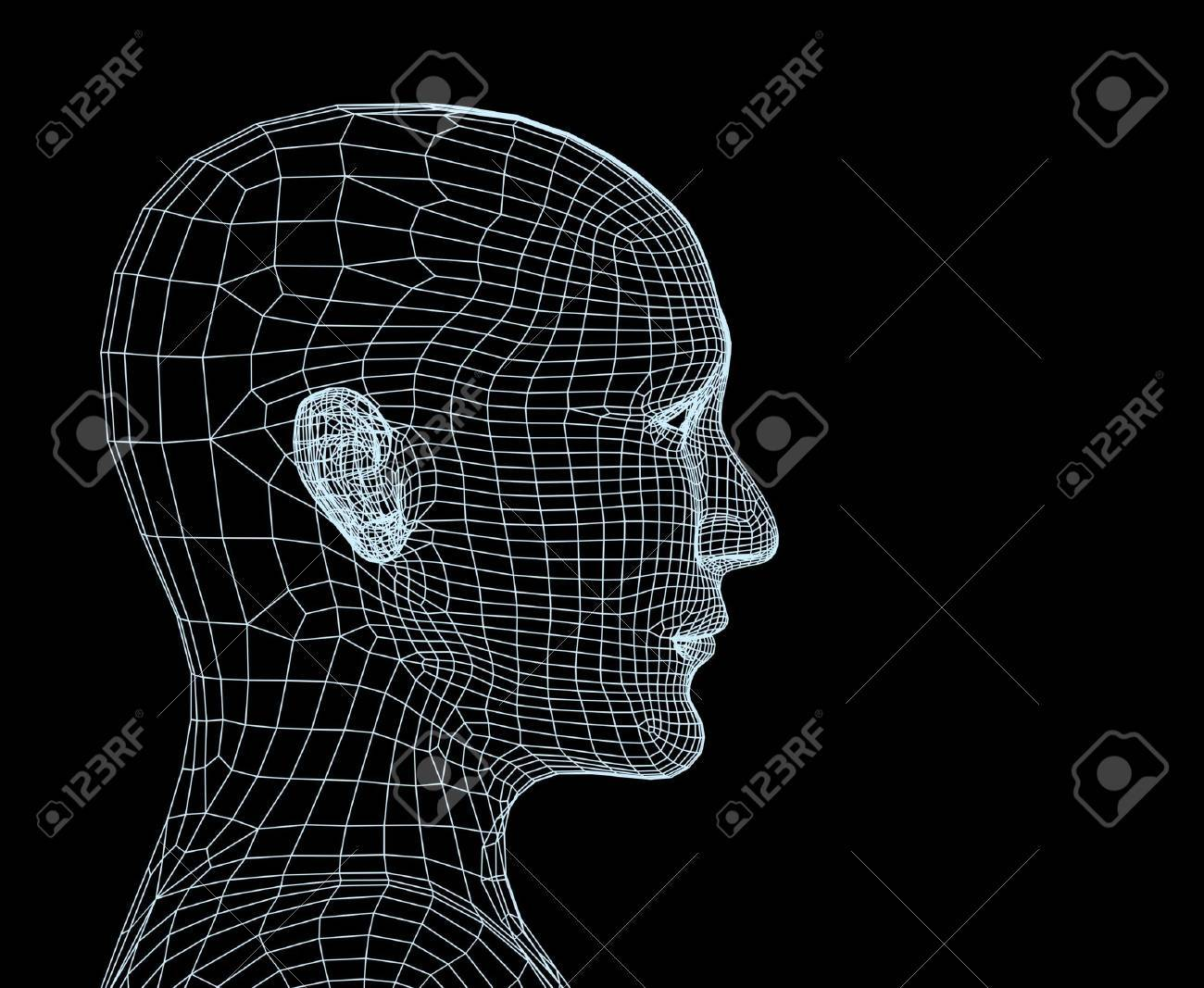 Head of the person from a blue 3d grid Stock Photo - 2464696