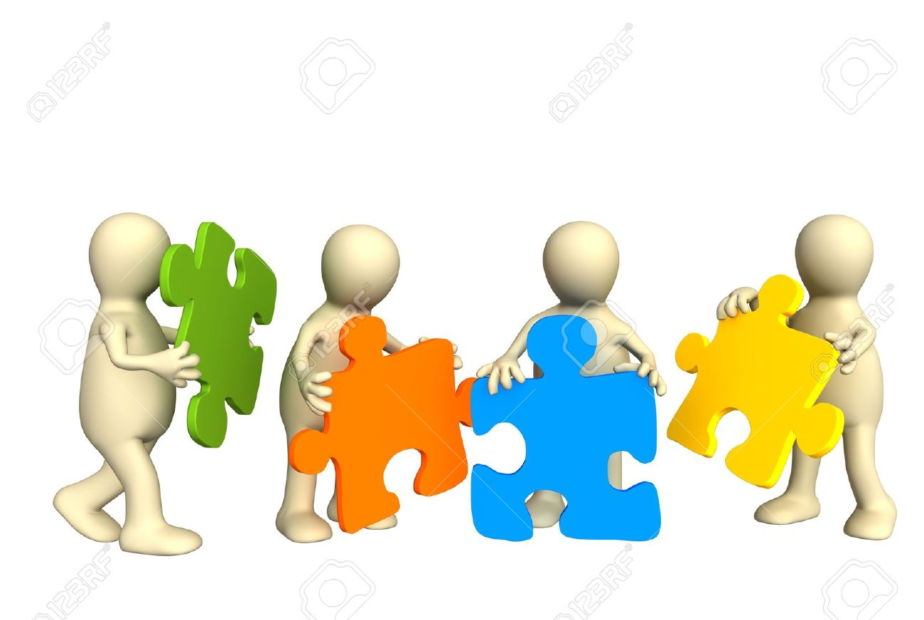 Four puppets, holding in hands a puzzle of multi color. Objects over white Stock Photo - 2645378