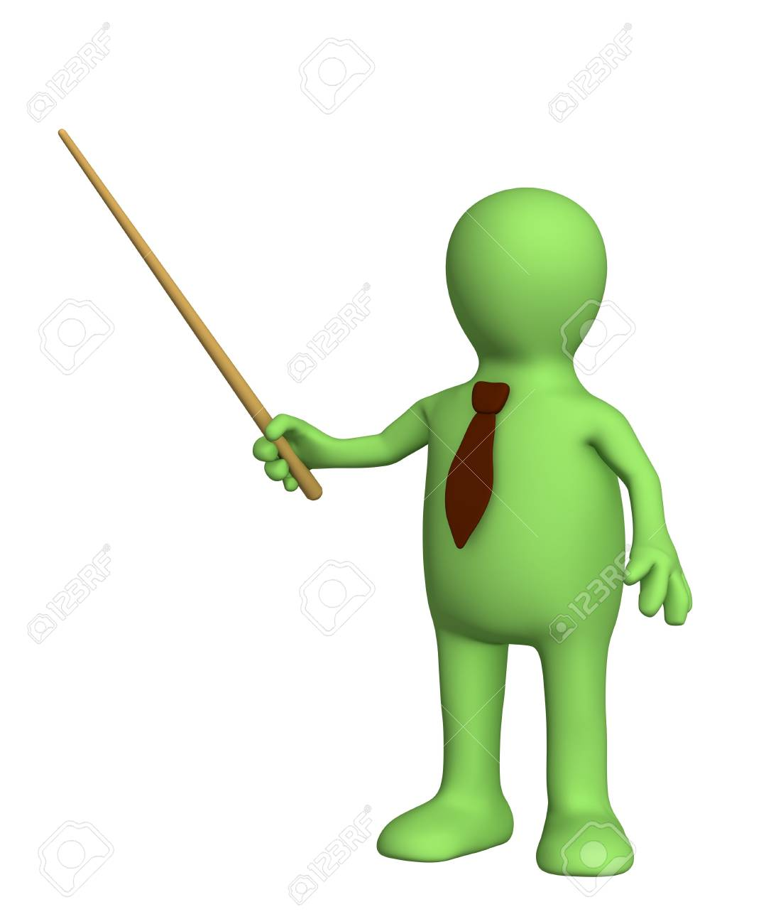 3d puppet - businessman in a tie with pick. Objects over white Stock Photo - 2939885