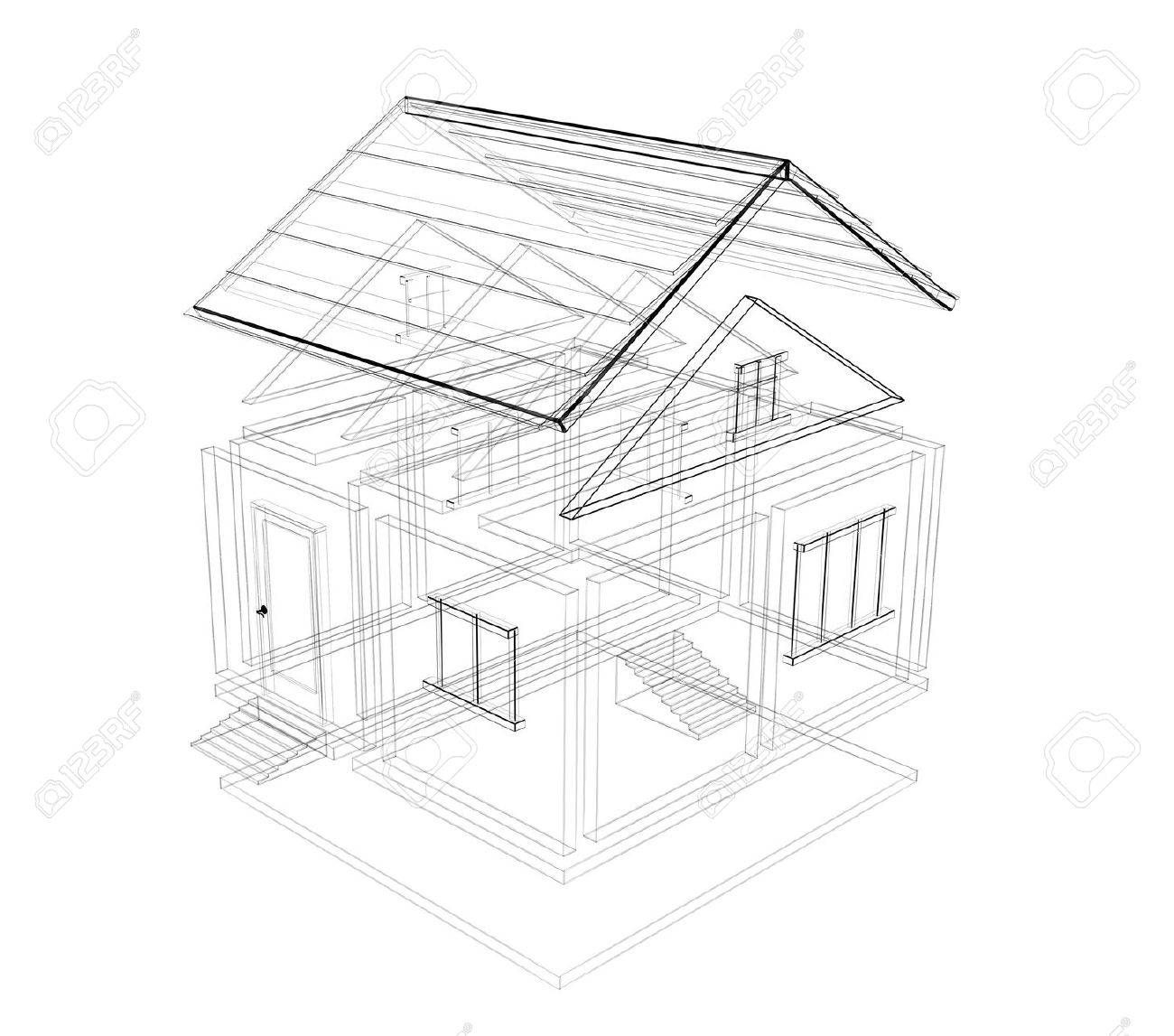 3d sketch of a house object over white stock photo 3143694