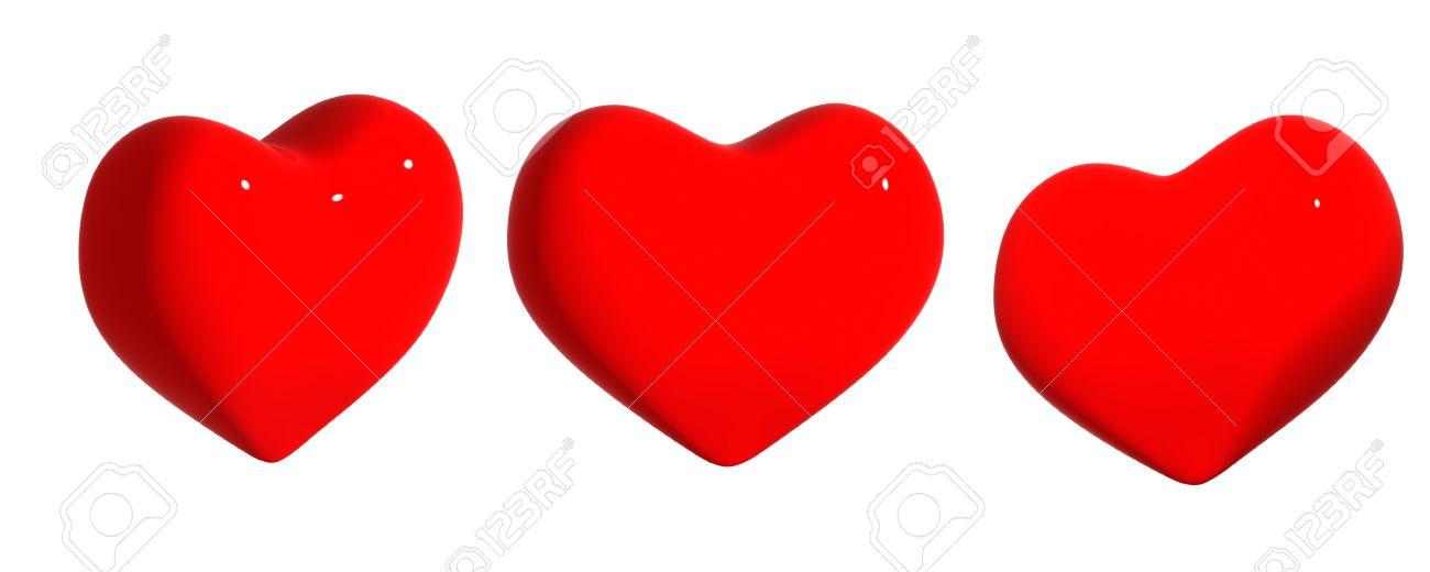 Tres Corazones De Color Rojo Objeto Más Blanco Fotos Retratos