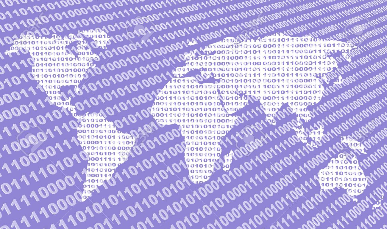 Background - map of the world from a binary code Stock Photo - 3247706