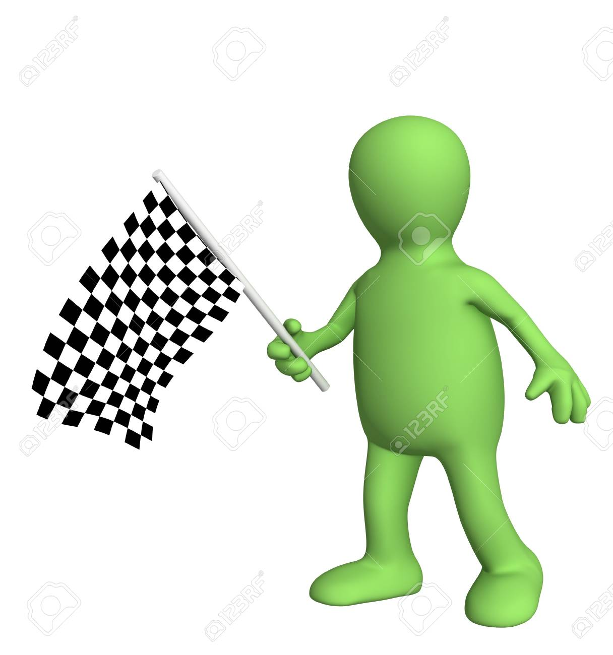 3d puppet with checkered flag. Object over white Stock Photo - 3704050