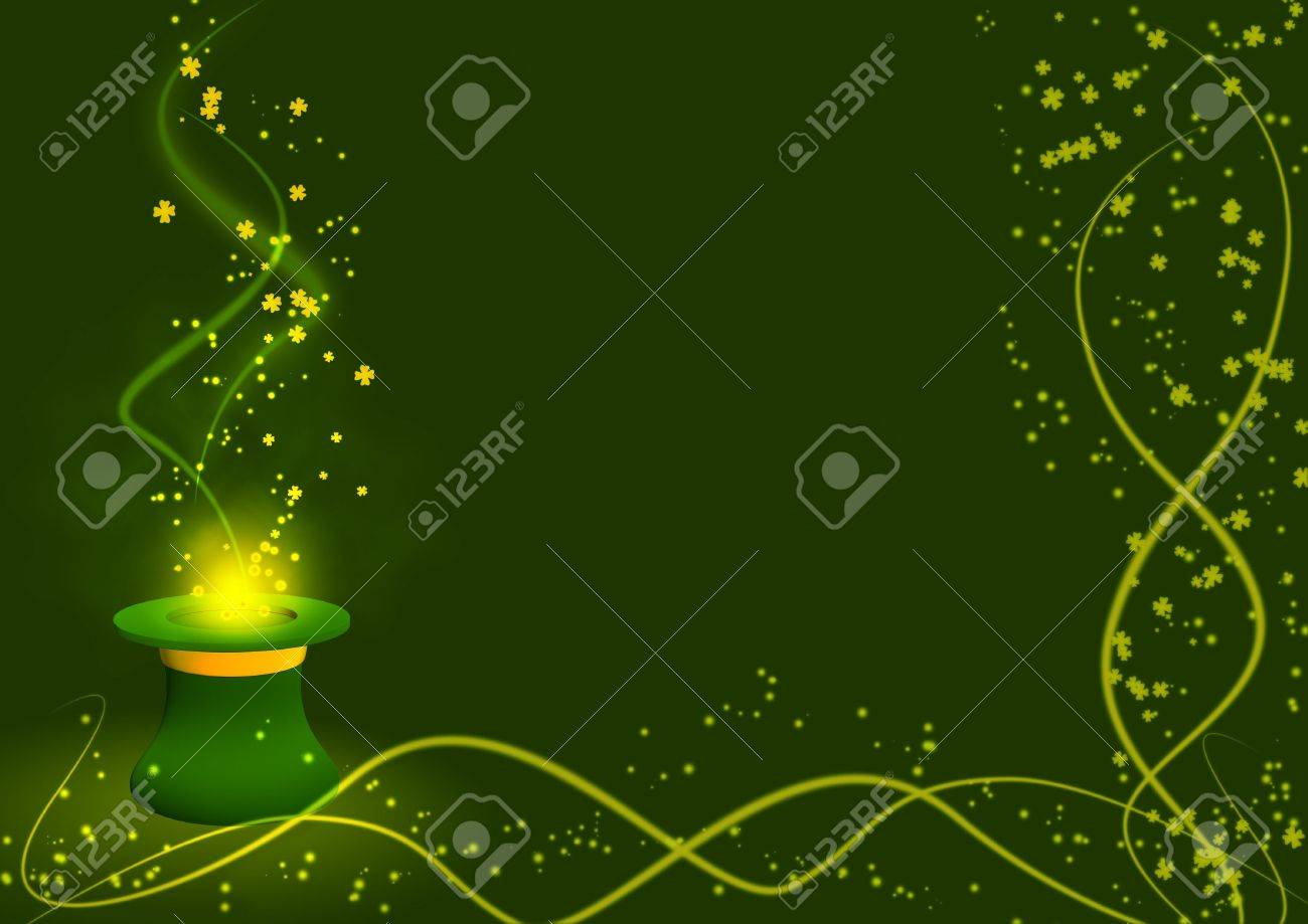 Background - gold leaves taking off from a hat Stock Photo - 3815138