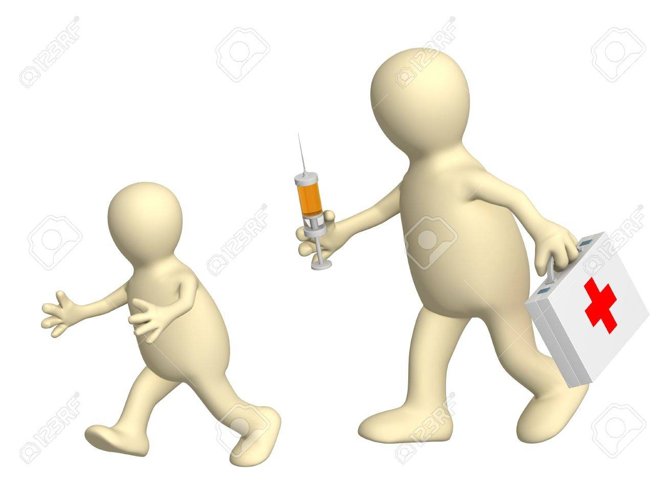 Child, escaping from the doctor with a syringe Stock Photo - 3880780