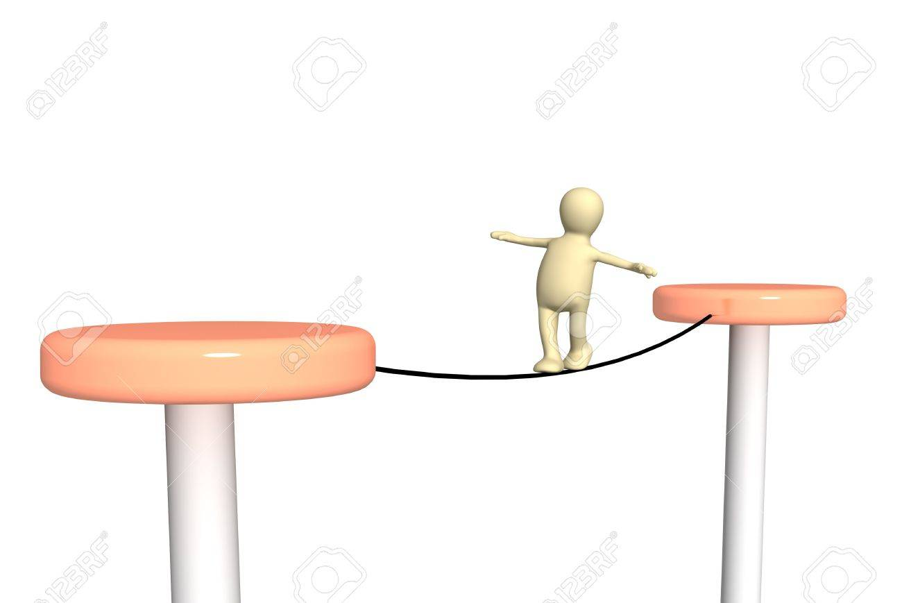 3d person,  going on a rope Stock Photo - 3913459