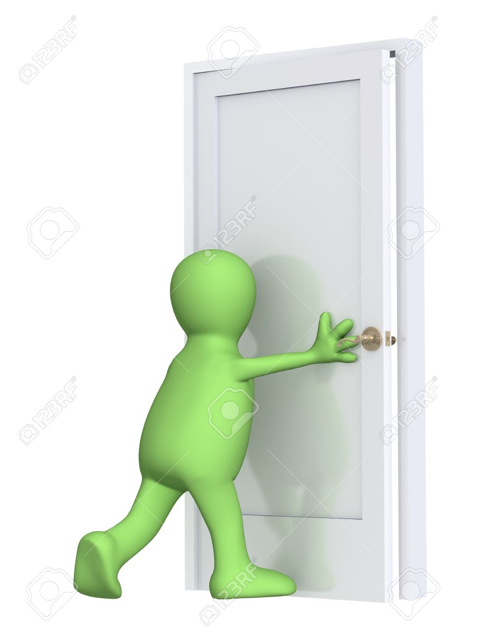 3d puppet closing a door. Over white Stock Photo - 4108109  sc 1 st  123RF.com & 3d Puppet Closing A Door. Over White Stock Photo Picture And ...