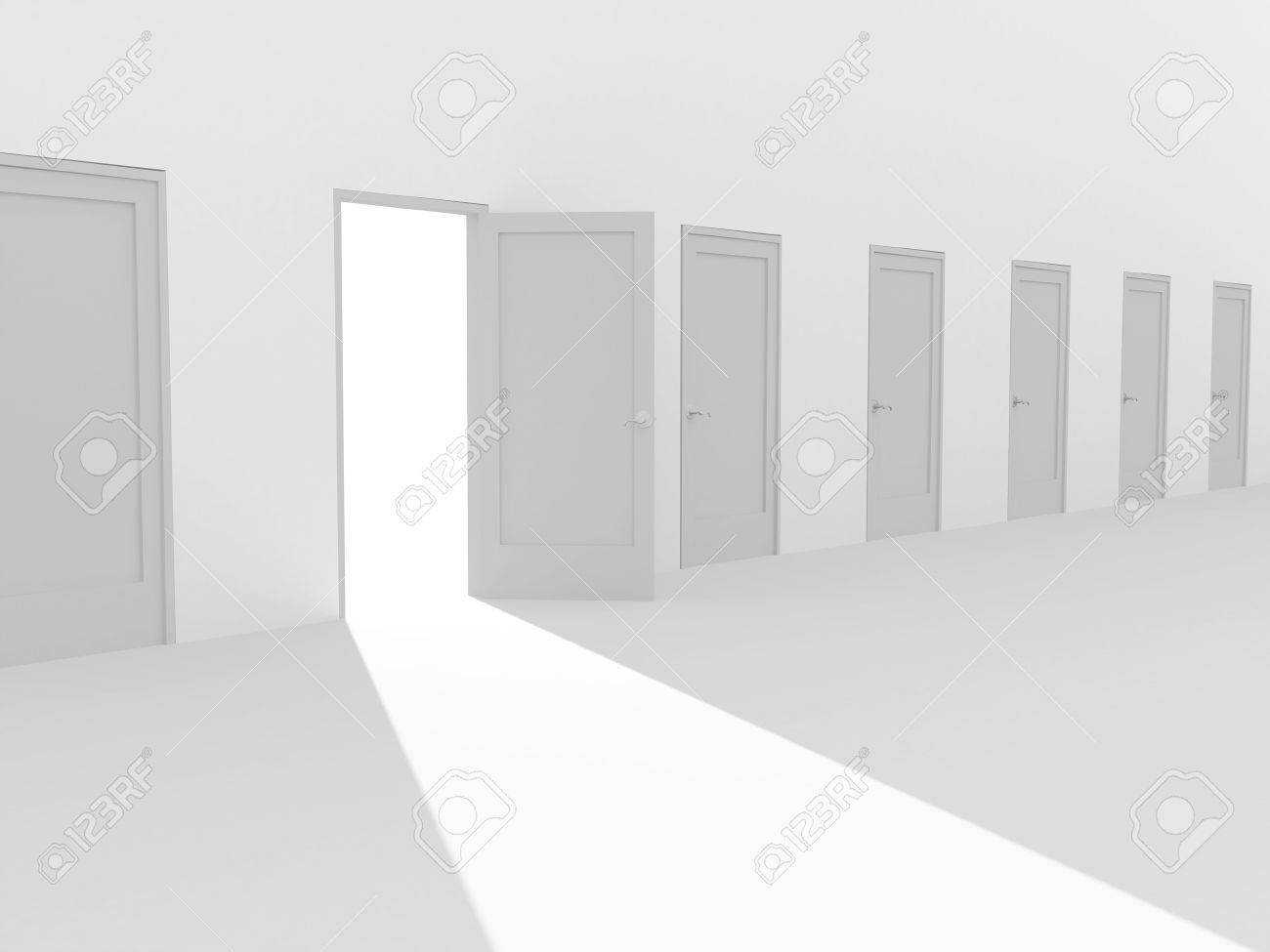 Open door closed door - Open Door In A Row Of The Closed Doors Stock Photo 4252105