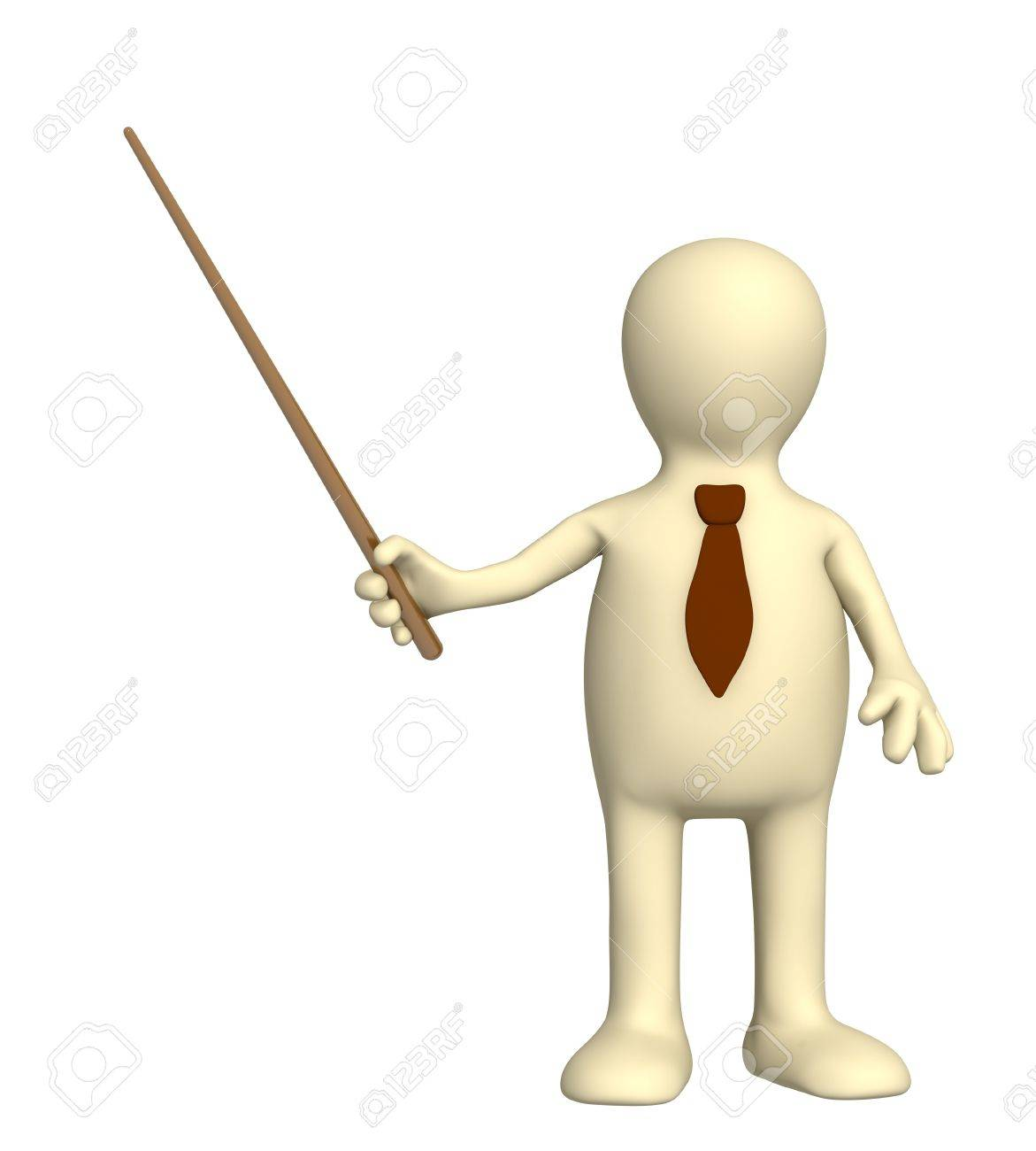 3d puppet - businessman in a tie with pick. Objects over white Stock Photo - 4335624