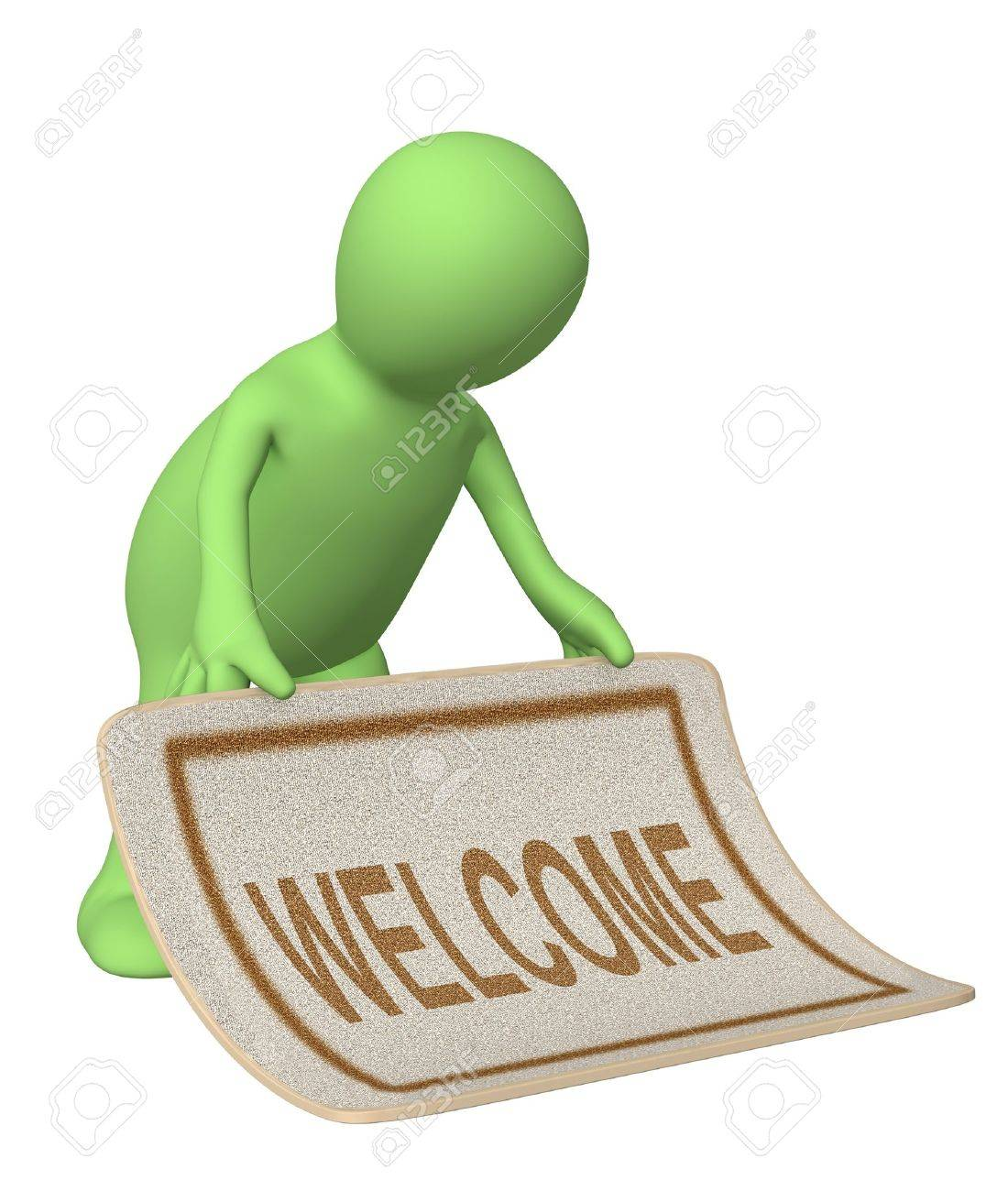 Puppet, stacking doormat with an inscription welcome Stock Photo - 4335644