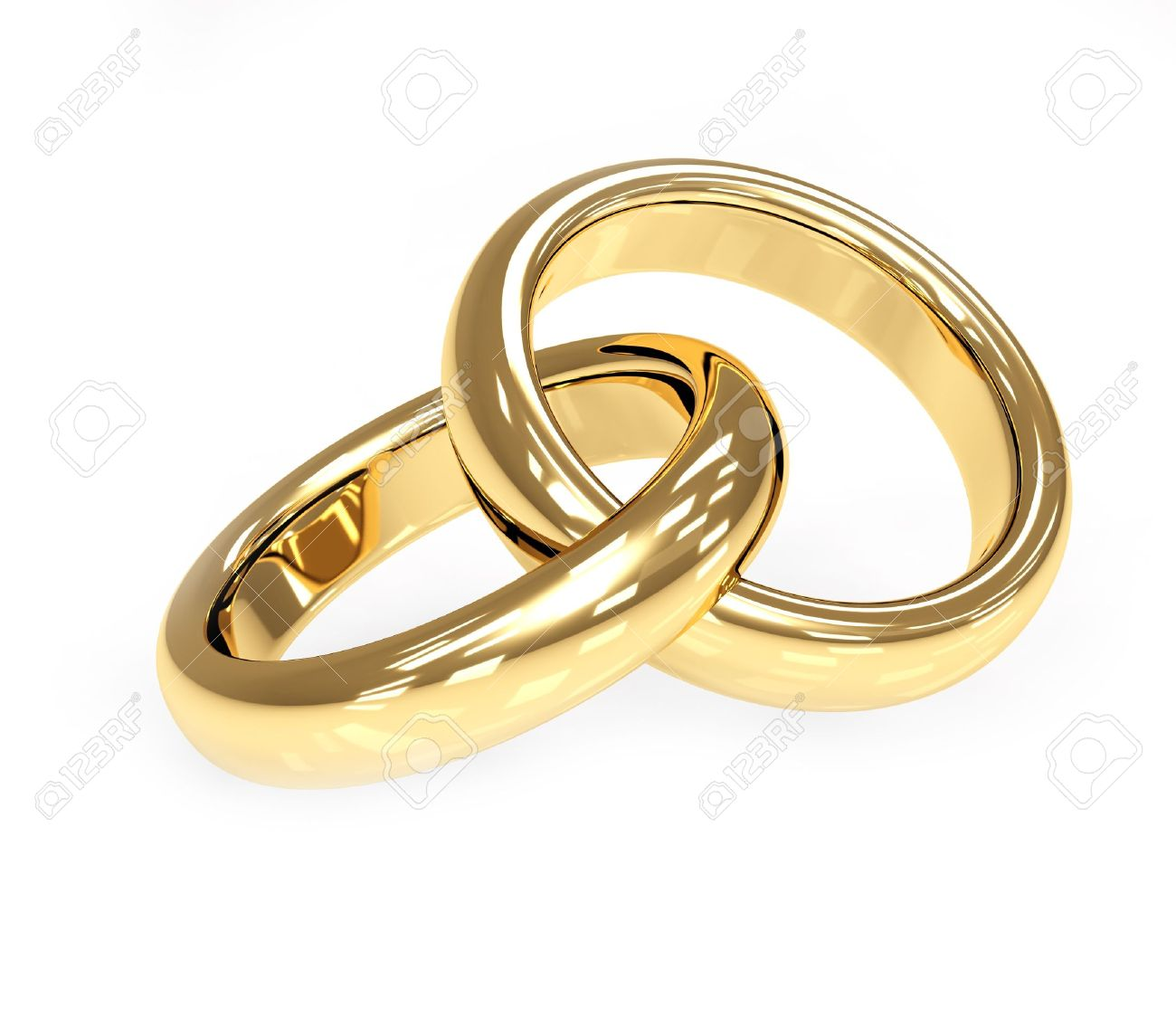 Two 3d gold wedding ring. Objects over white Stock Photo - 4467776