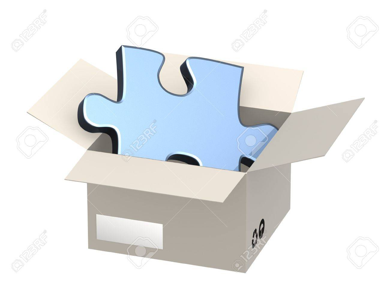 Element of a puzzle in a cardboard box Stock Photo - 4803641