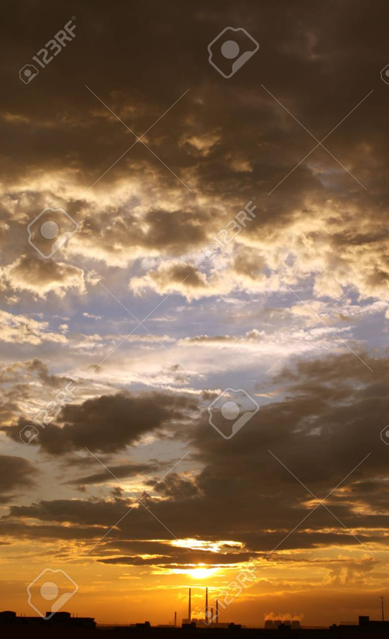 Industrial landscape - beautiful sunset and factory pipes Stock Photo - 5151247