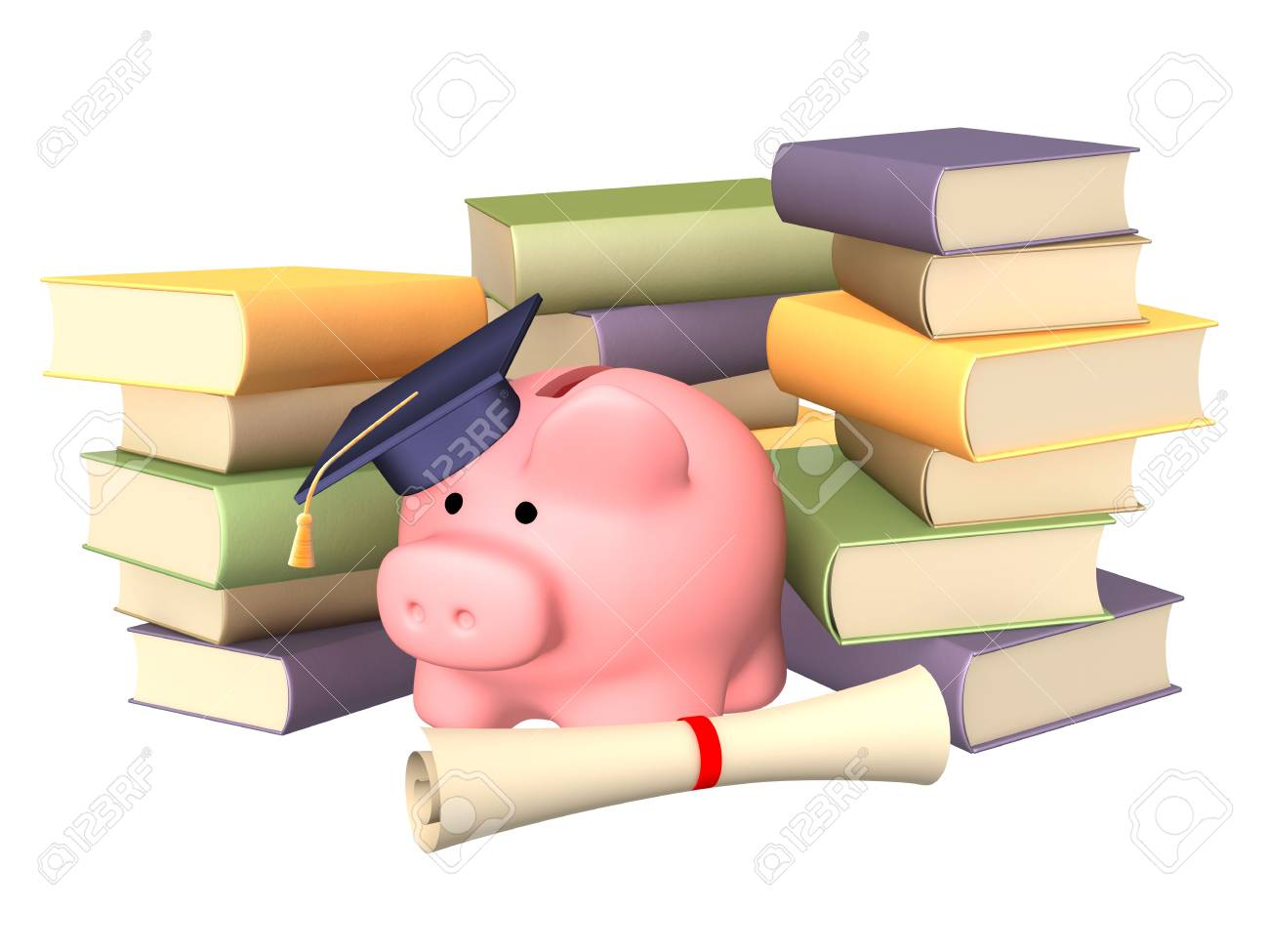 Piggy bank with cap and books. Objects over white Stock Photo - 5332650
