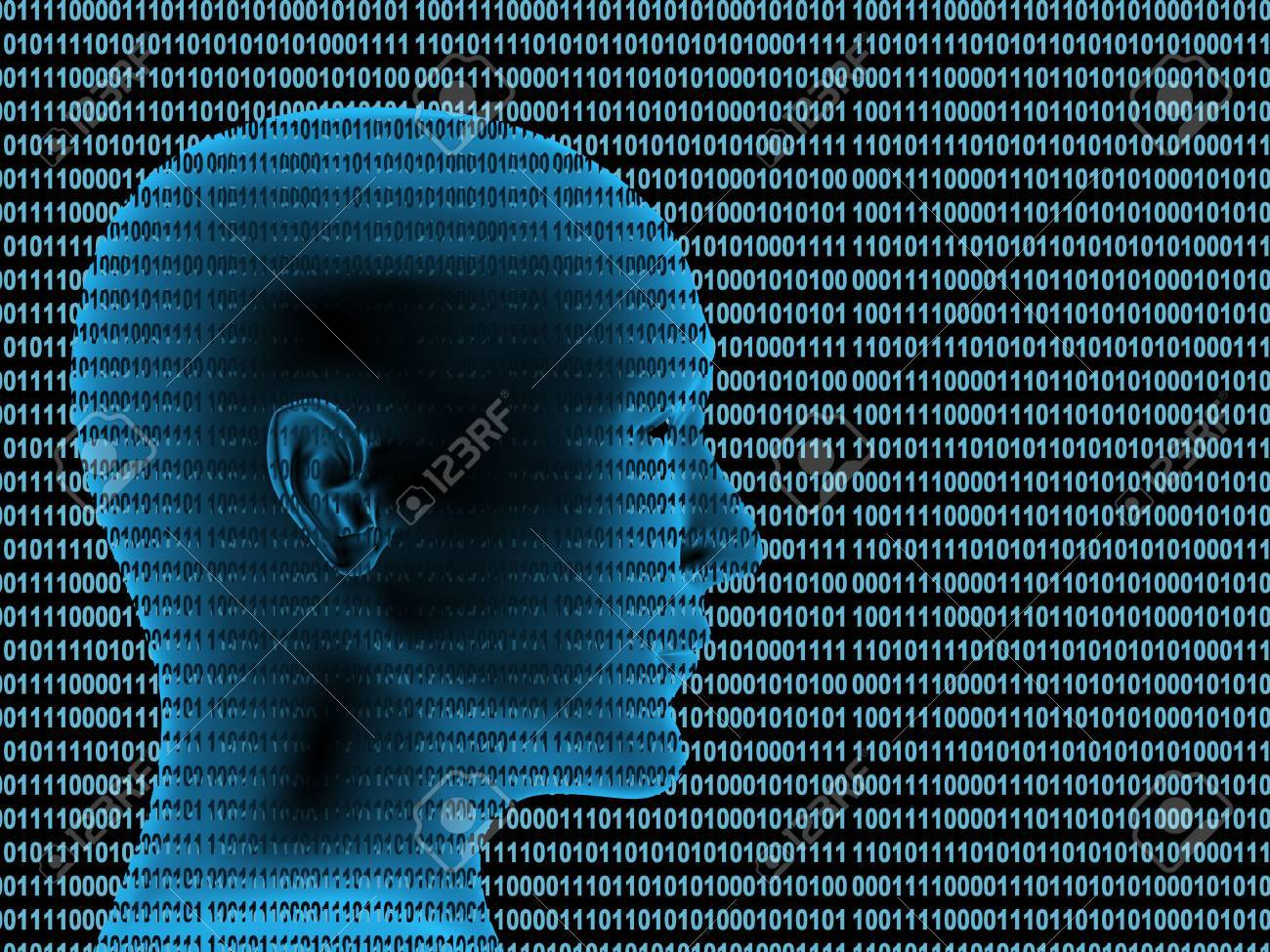 Human profile from a binary code Stock Photo - 5603336