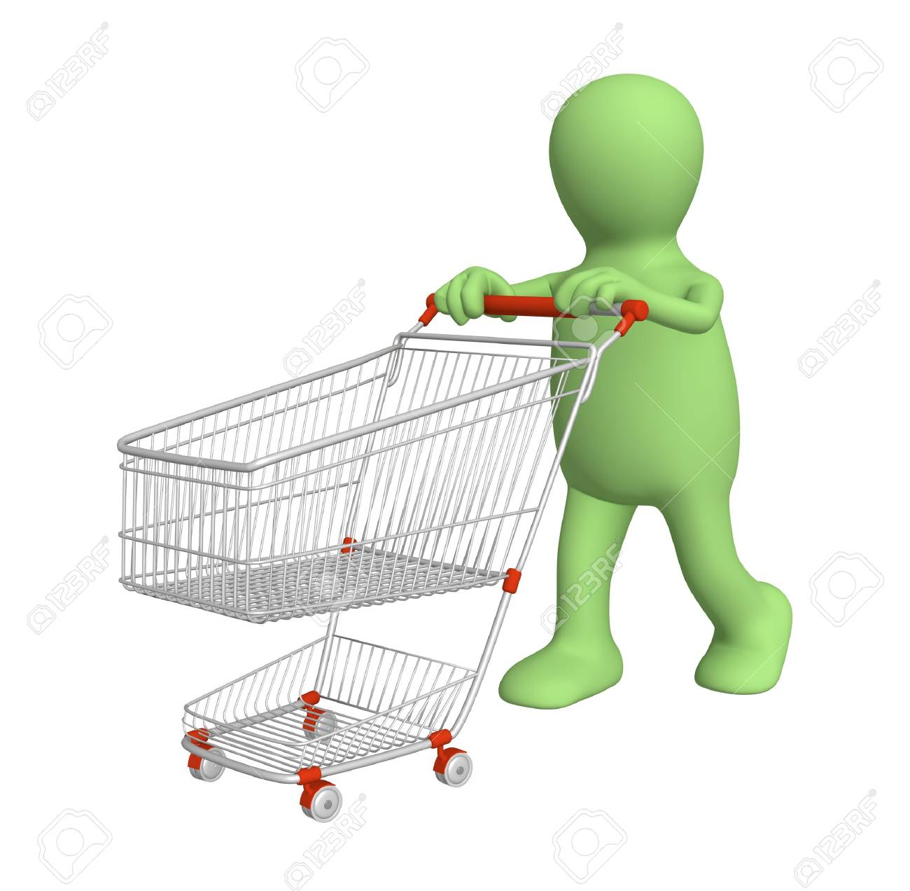 3d puppet, going for purchases - over white Stock Photo - 5659088