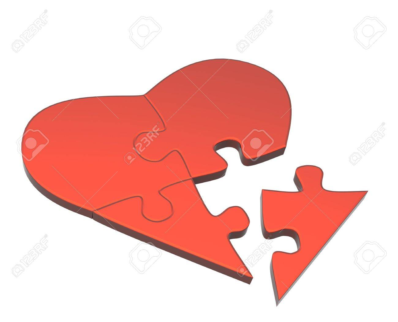 Symbol of love - heart from parts of a puzzle Stock Photo - 5773971