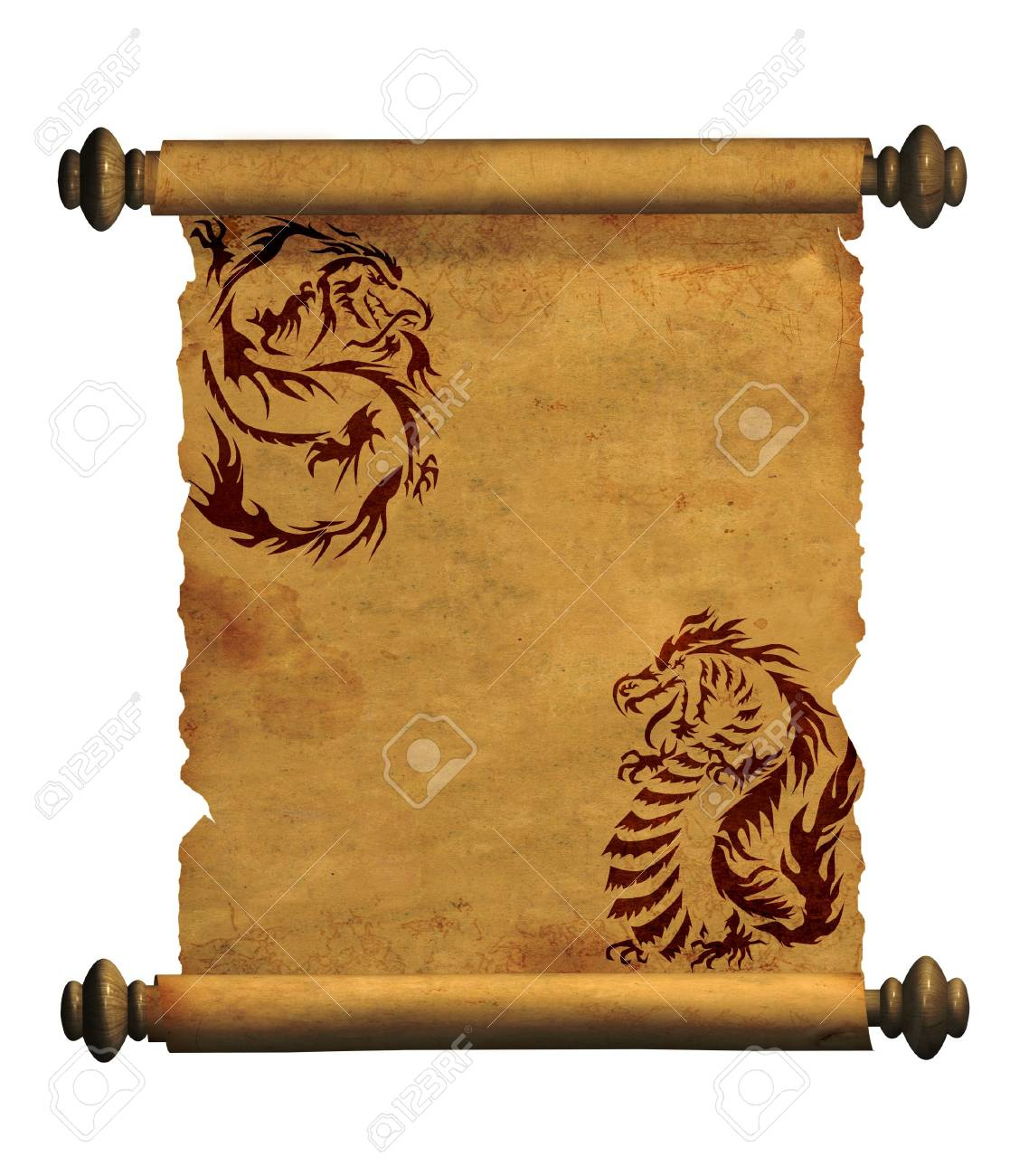 Sheet of ancient parchment with the image of dragons Stock Photo - 6243833