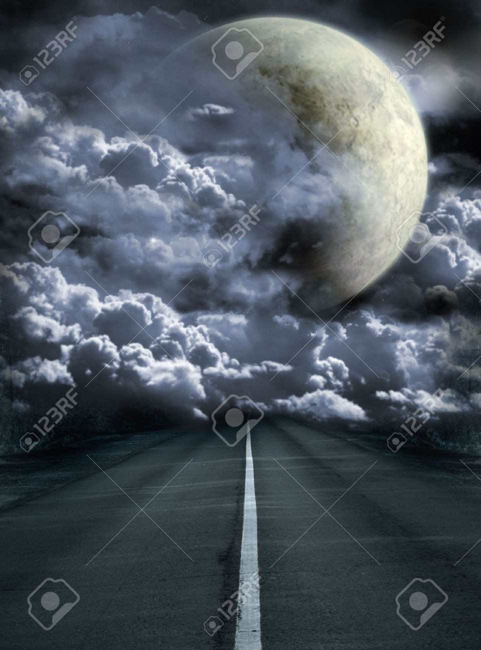 Dark series - road to surreal moon Stock Photo - 6579876