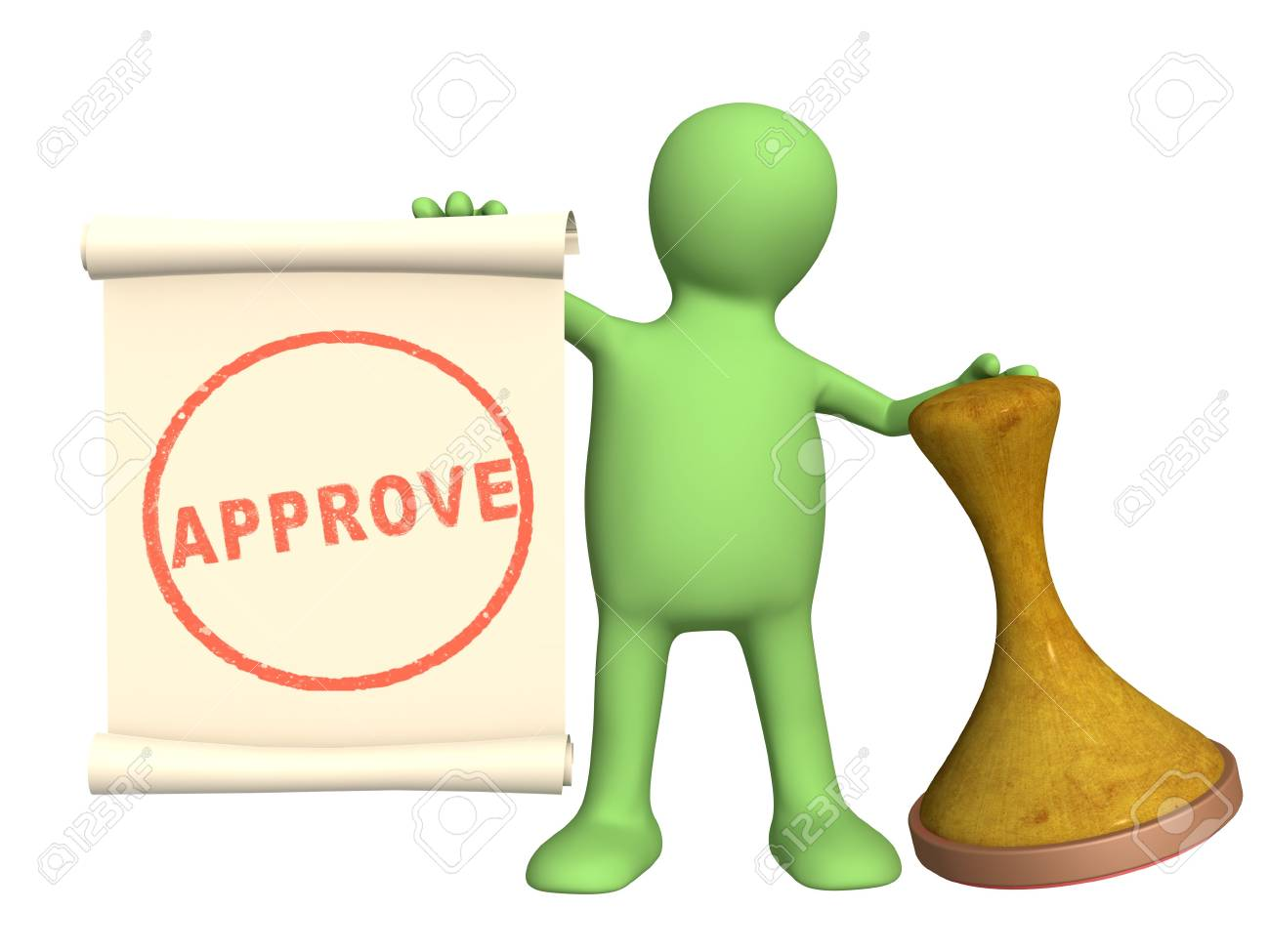 Approve - 3d puppet with an seal Stock Photo - 6597848