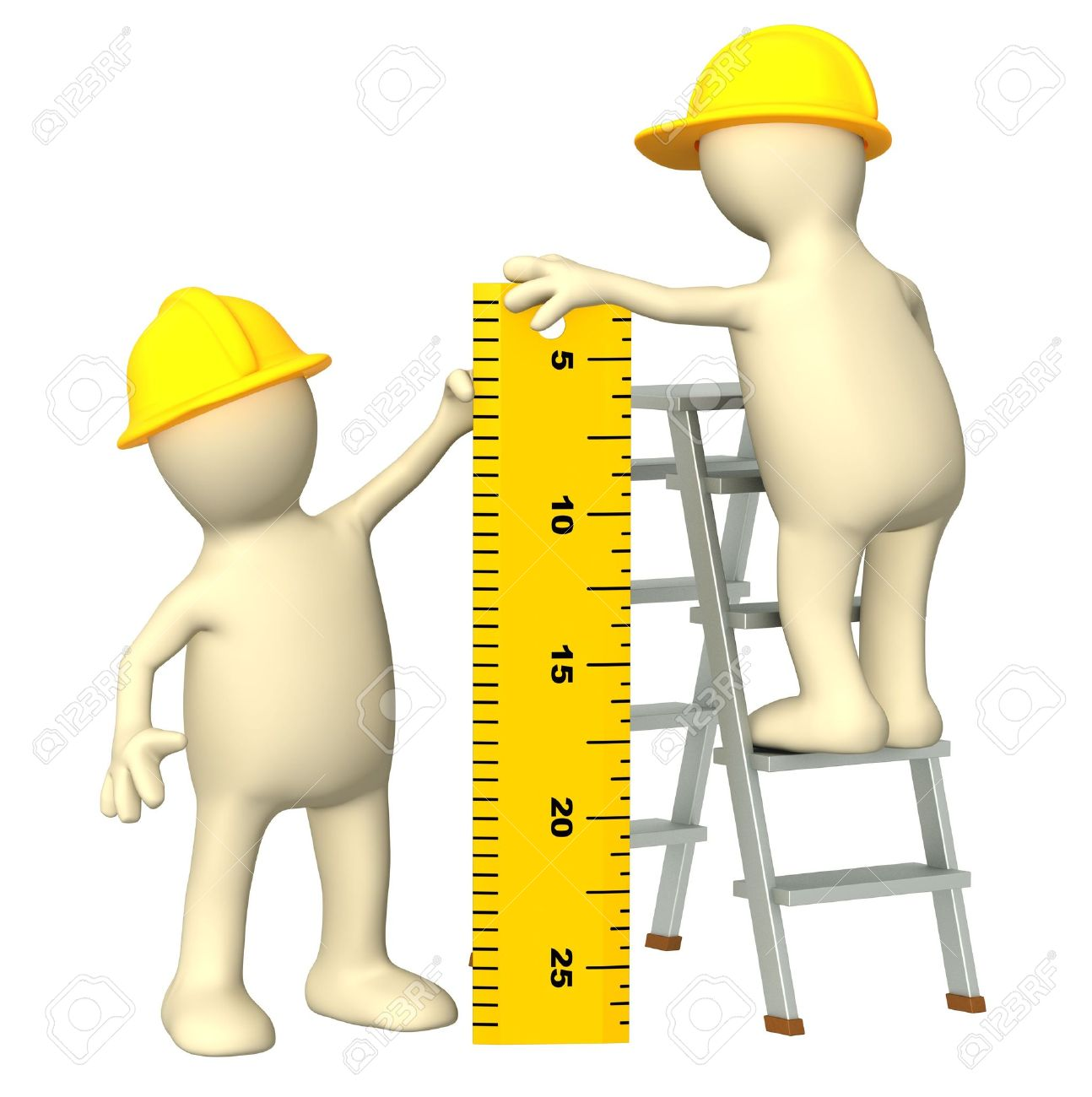 3d builders with ruler - over white Stock Photo - 6651545
