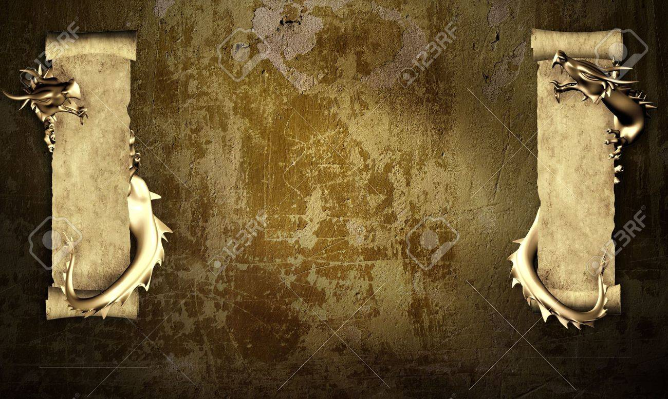 Grunge background with dragons and scrolls of old parchment Stock Photo - 6684980