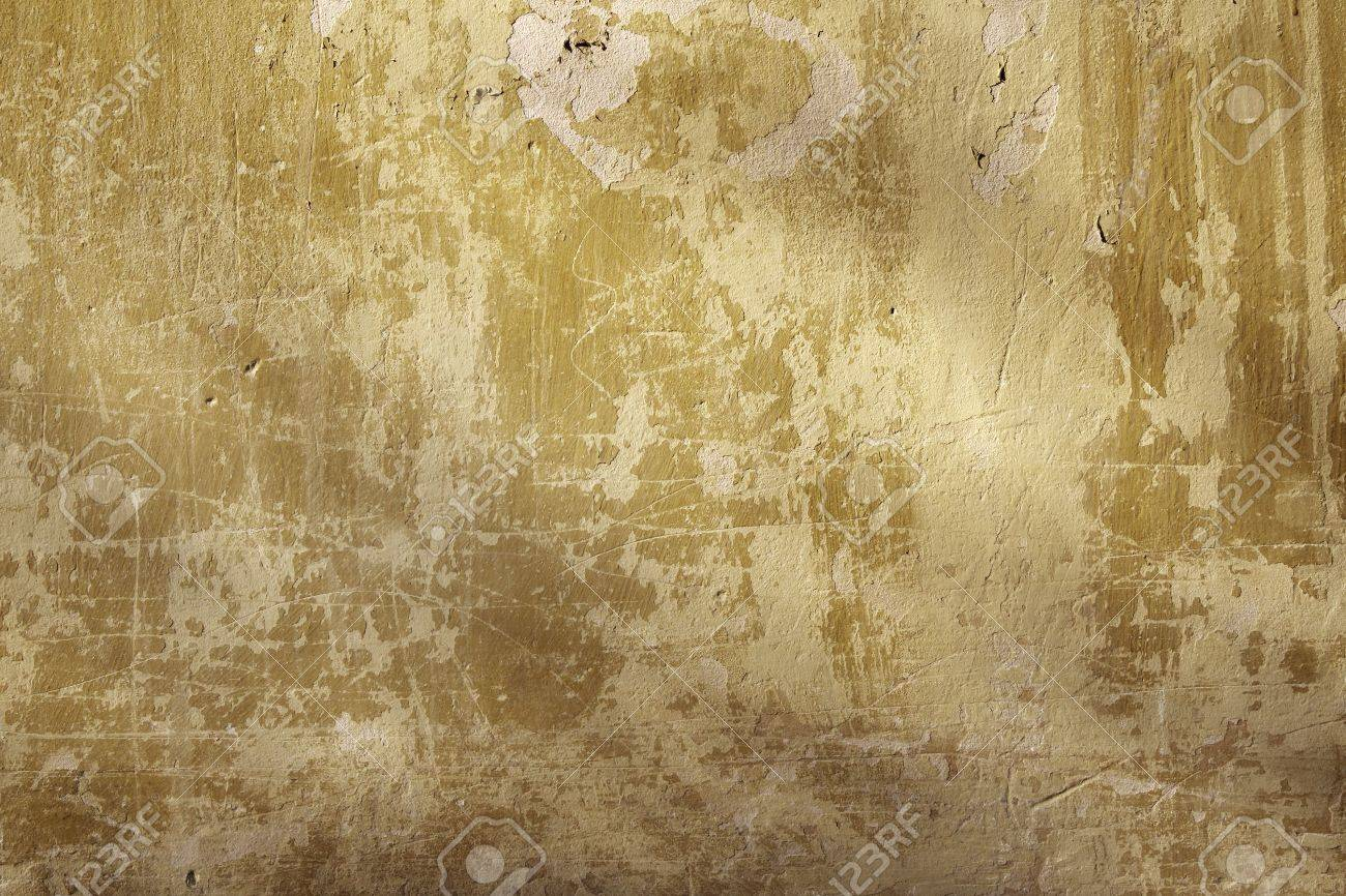 Grunge Background - Texture Stucco Of Ochre Color Stock Photo ...