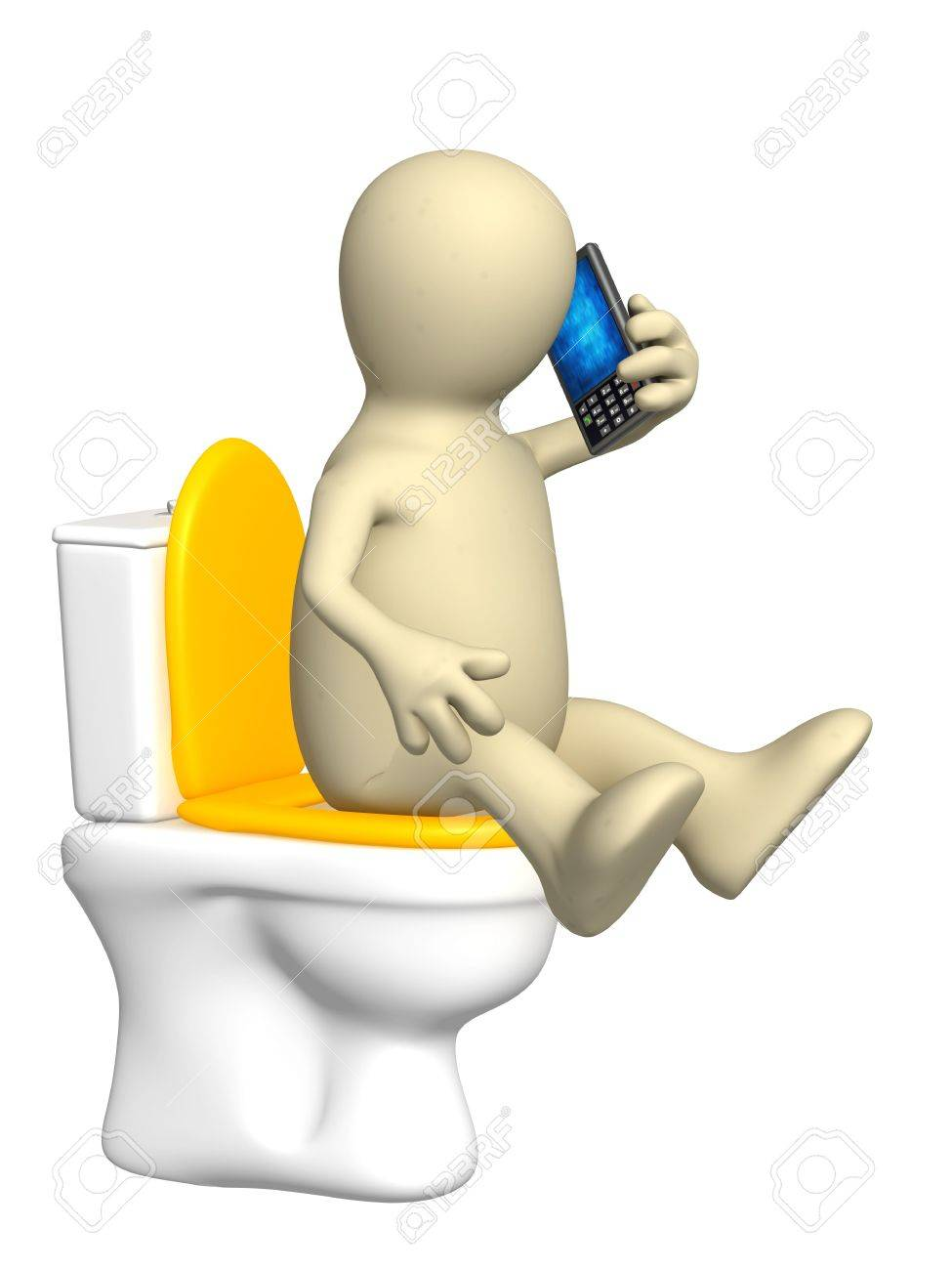 3d puppet, sitting with a phone on toilet bowl Stock Photo - 6757601