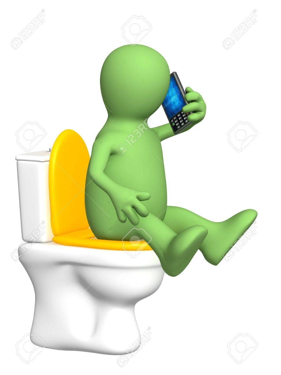 3d puppet, sitting with a phone on toilet bowl Stock Photo - 6757628