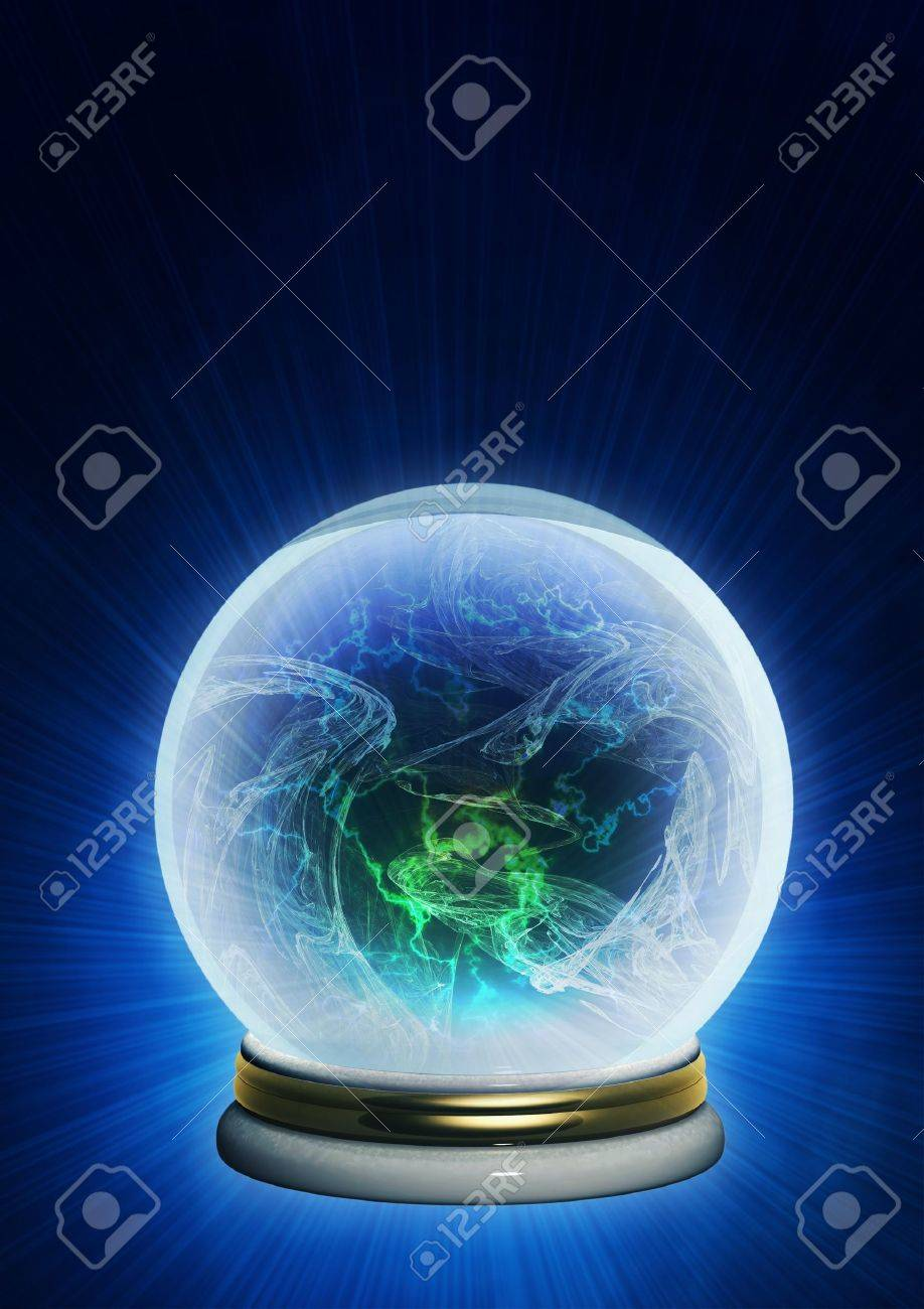 Magic ball. Vertical background of blue color Stock Photo - 6860478