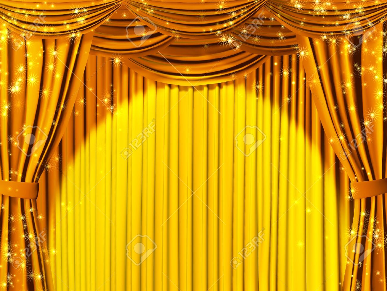 Theatrical Curtain Of Yellow Color Stock Photo Picture And Royalty