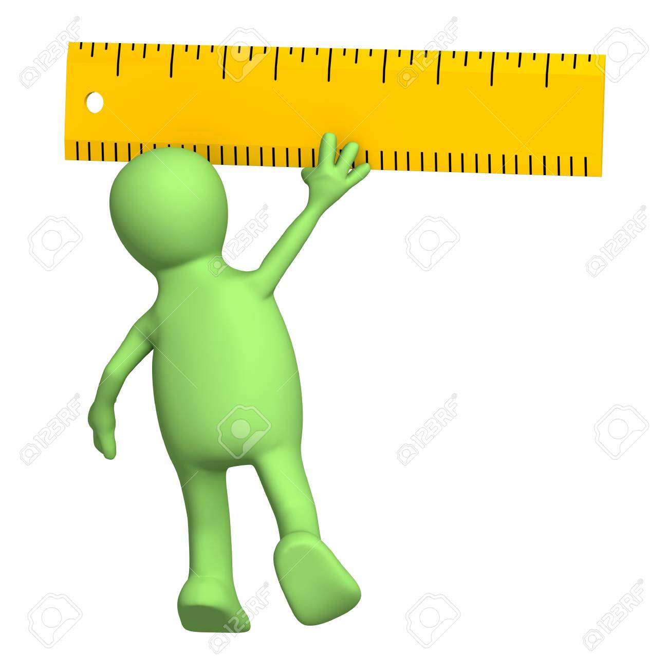 3d puppet with ruler - over white Stock Photo - 7742380