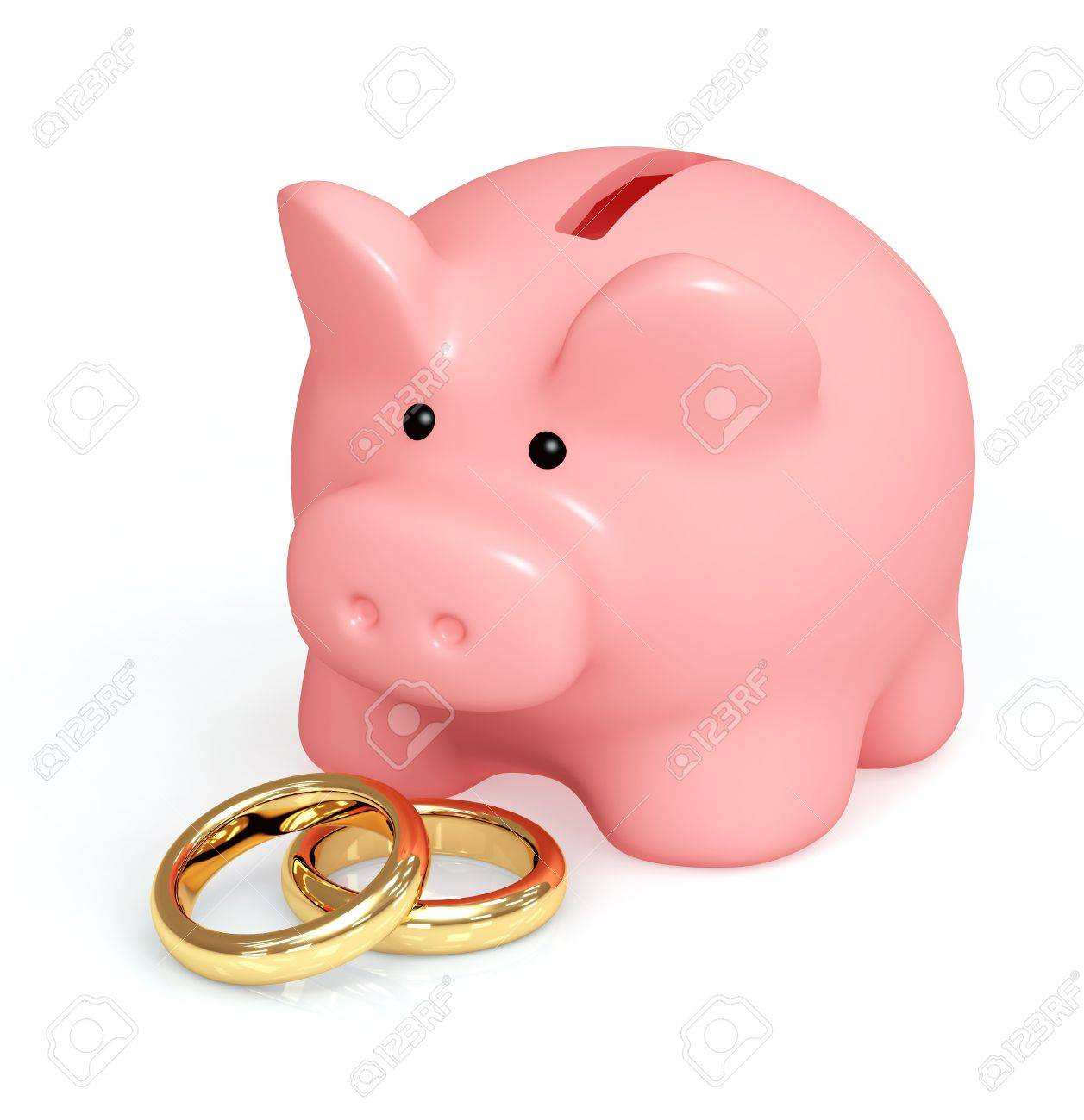 Money For Wedding. Piggy Bank And Wedding Rings Stock Photo, Picture ...