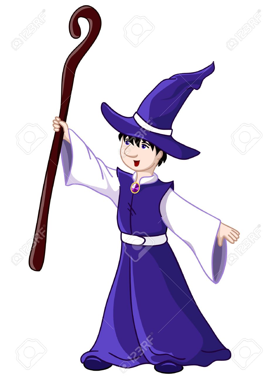 Young wizard - illustration. Isolated over white Stock Vector - 7782488