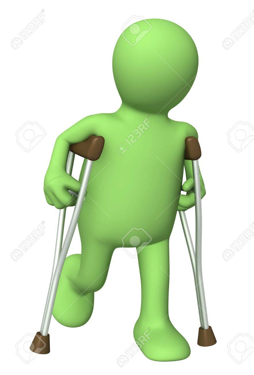 3d puppet with crutches. Isolated over white Stock Photo - 8320999