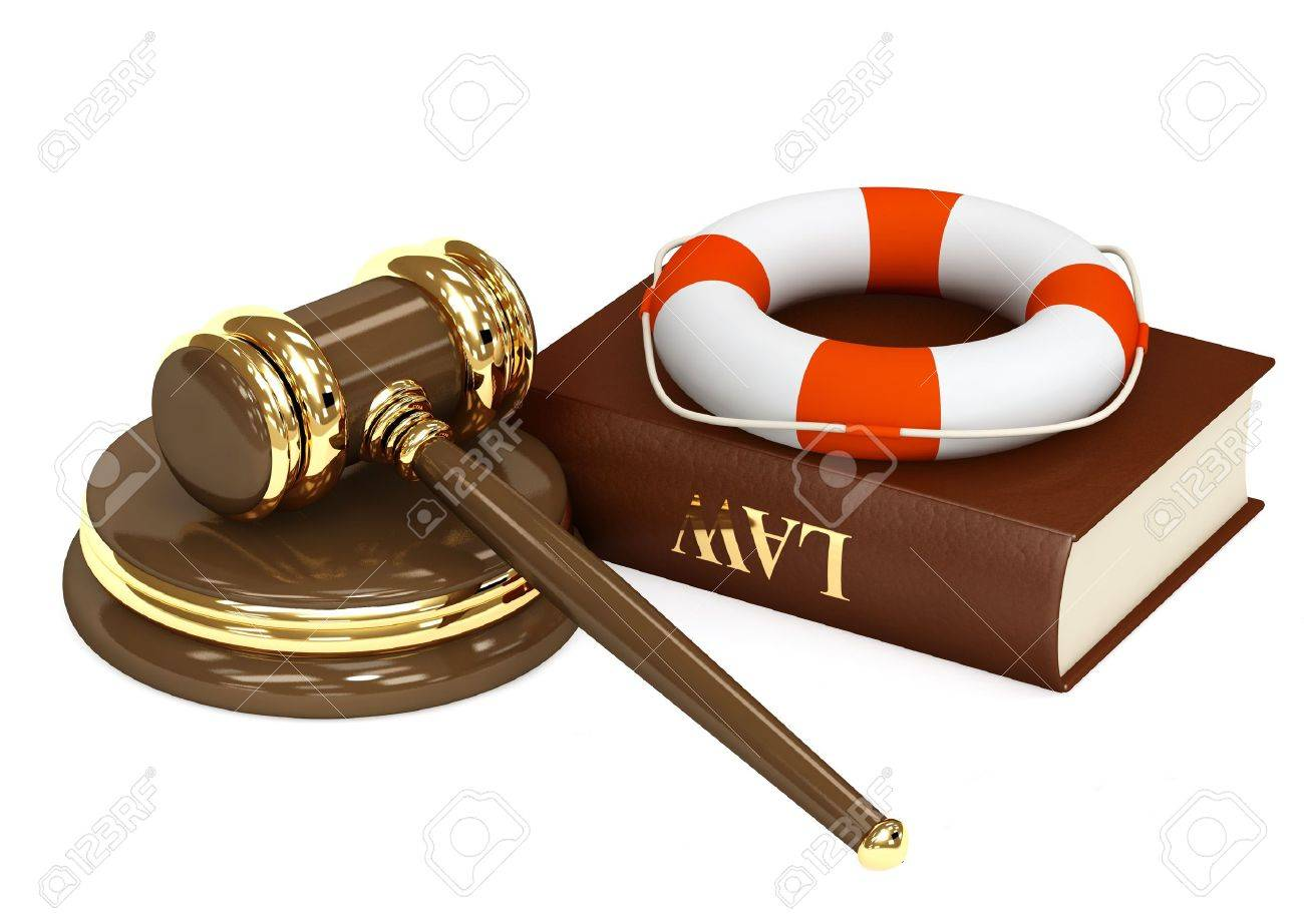 Legal aid. Hammer, book and lifebuoy Stock Photo - 8321000