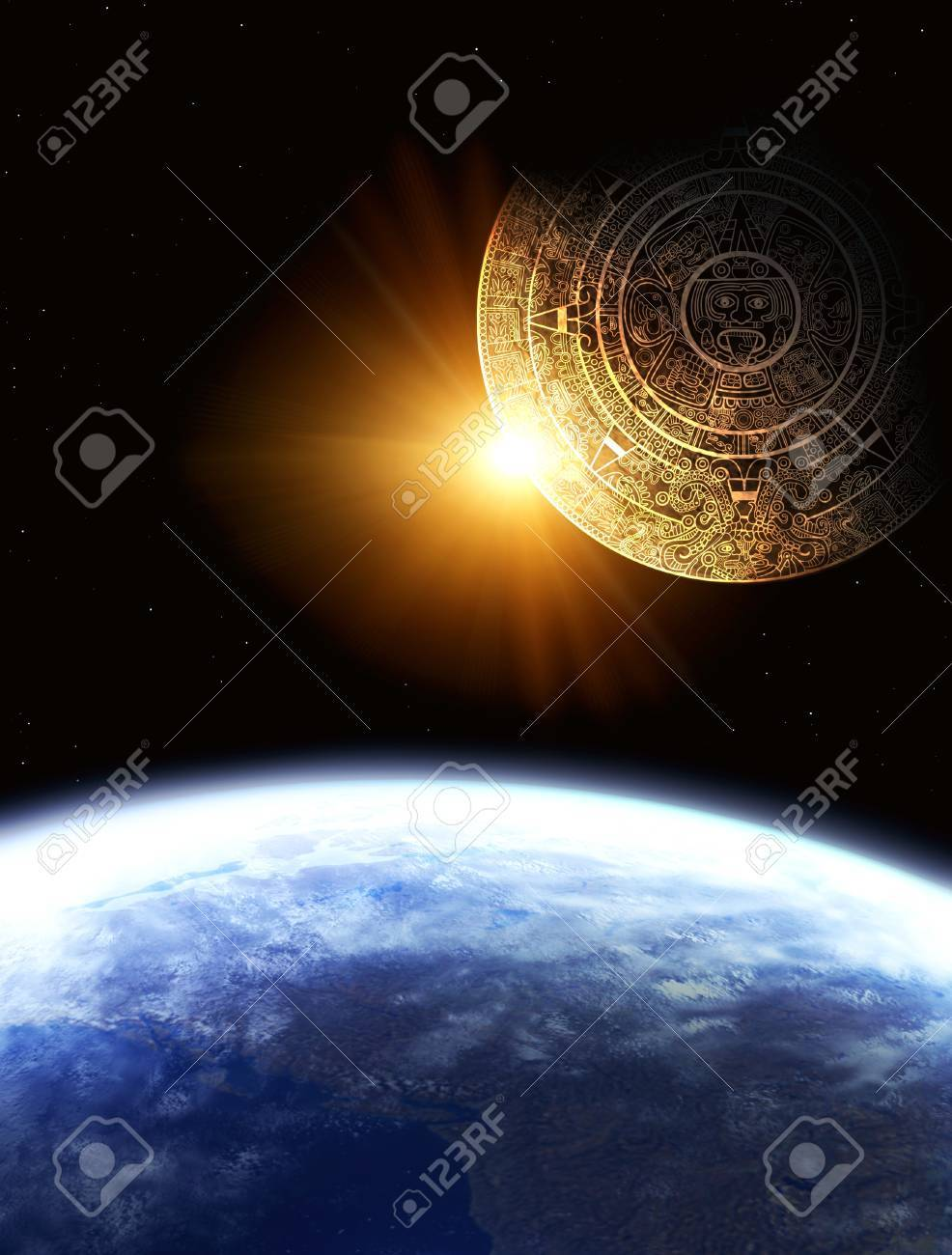 Vertical background with Maya calendar and Earth Stock Photo - 8360757