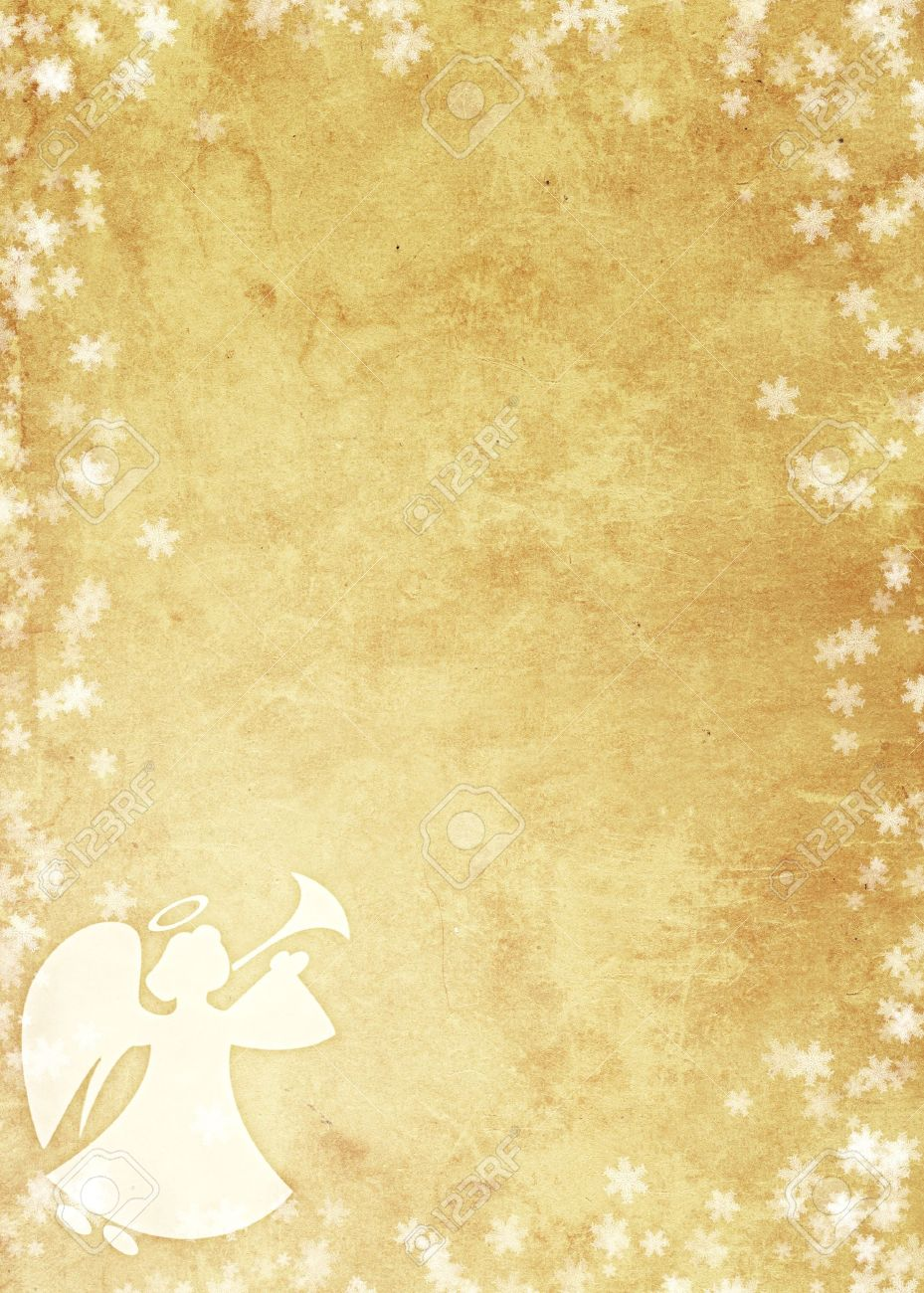 Christmas Grunge Background With Angel. Paper Texture Stock Photo ...