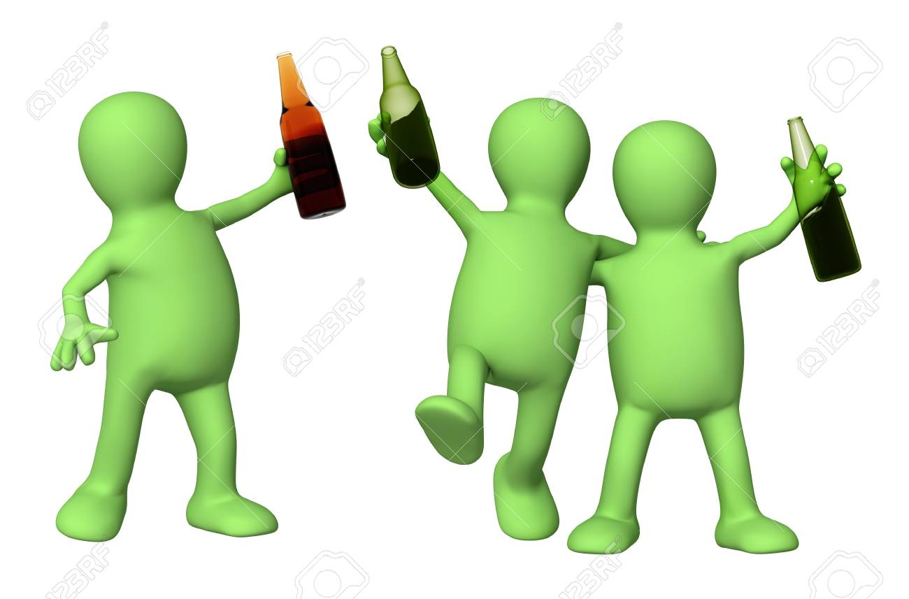 Cheerful friends with bottles of beer. Isolated over white Stock Photo - 8387541