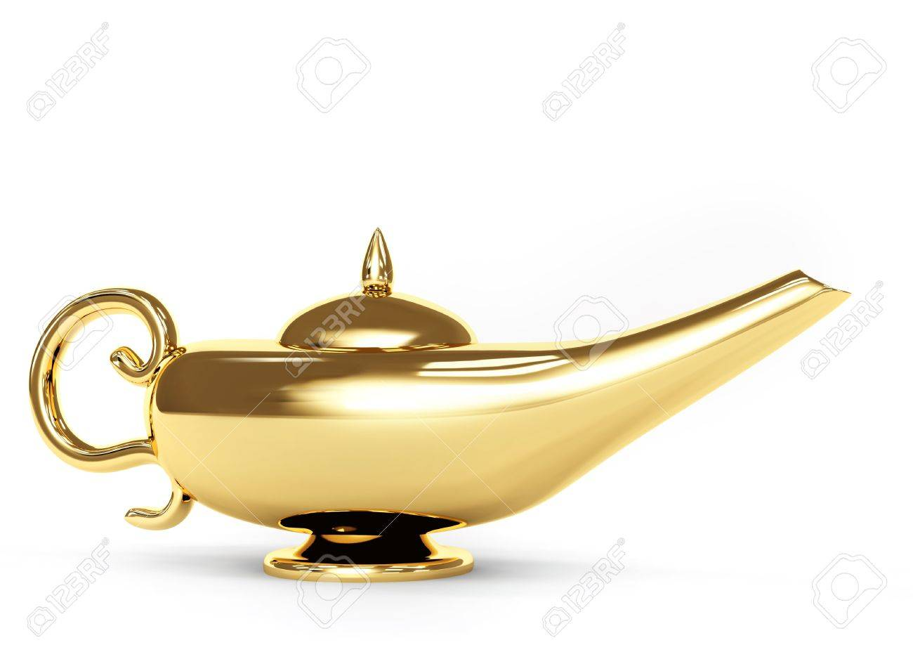 Symbol performance of desires - magic lamp. Object over white Stock Photo - 8641744