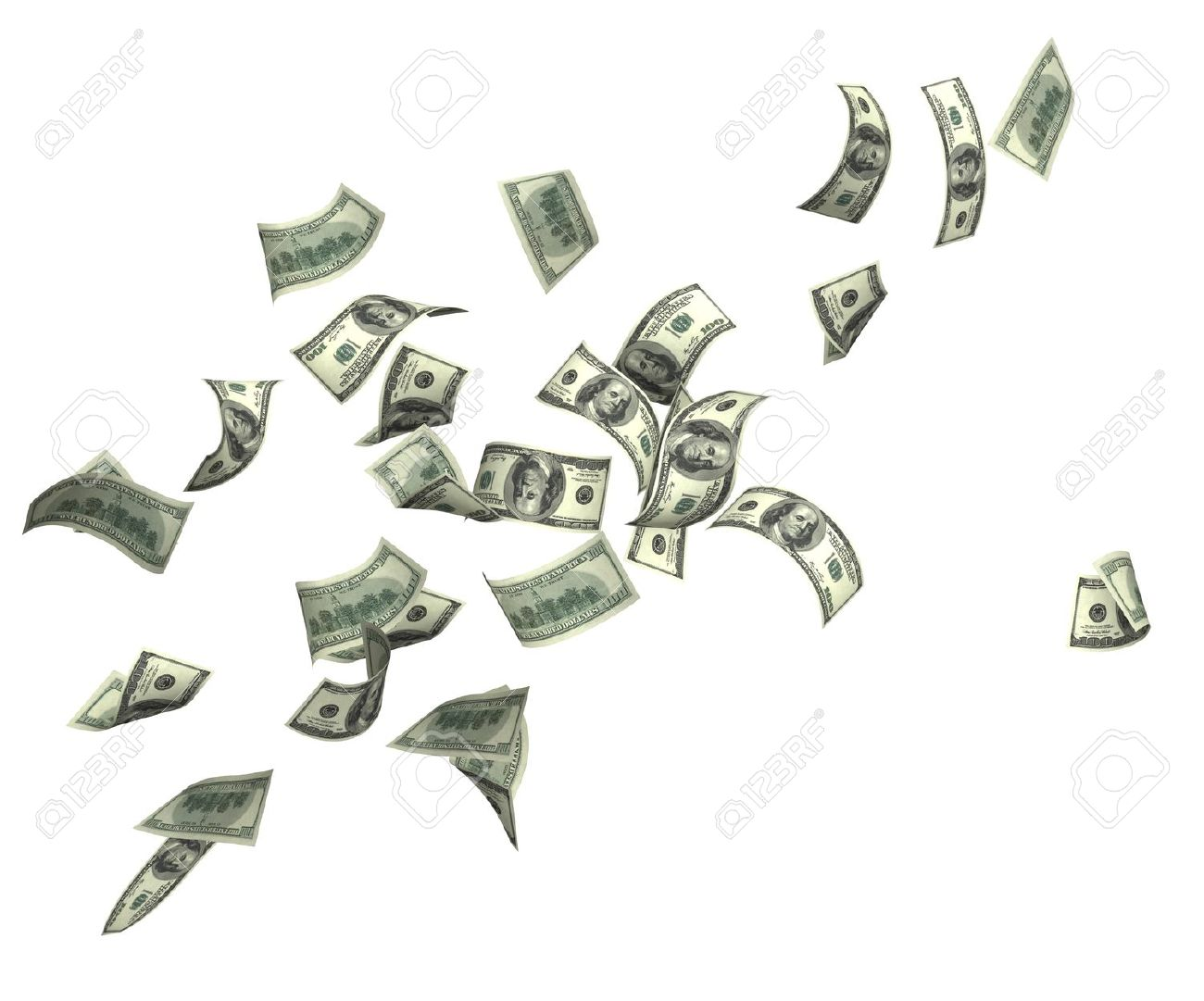 Symbol of wealth and success rain from dollars isolated over symbol of wealth and success rain from dollars isolated over white stock photo buycottarizona Gallery