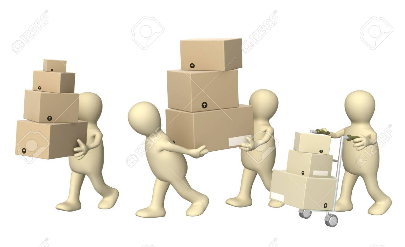 Four puppets with boxes. Isolated over white Stock Photo - 8664787