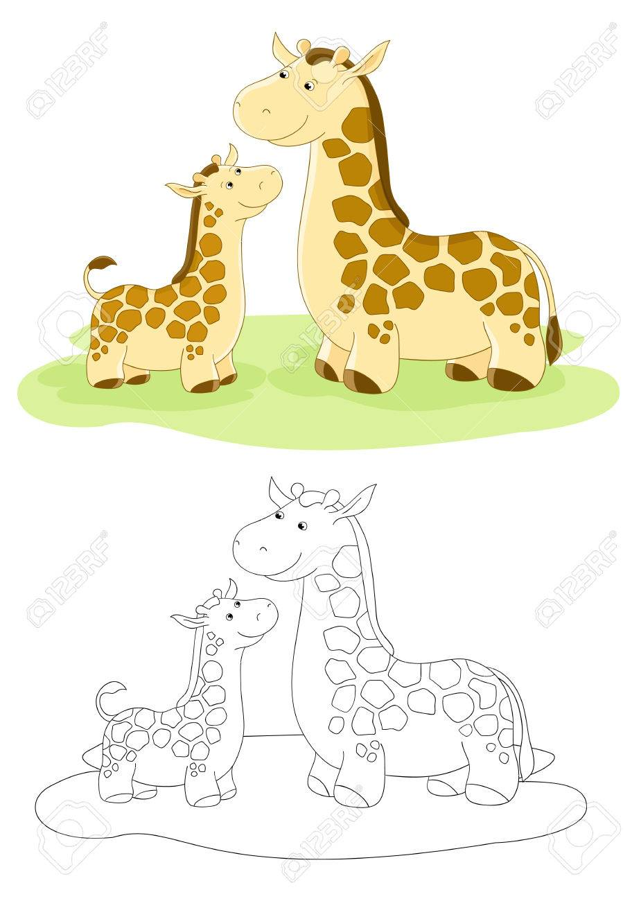 vector family of giraffes mom and baby royalty free cliparts