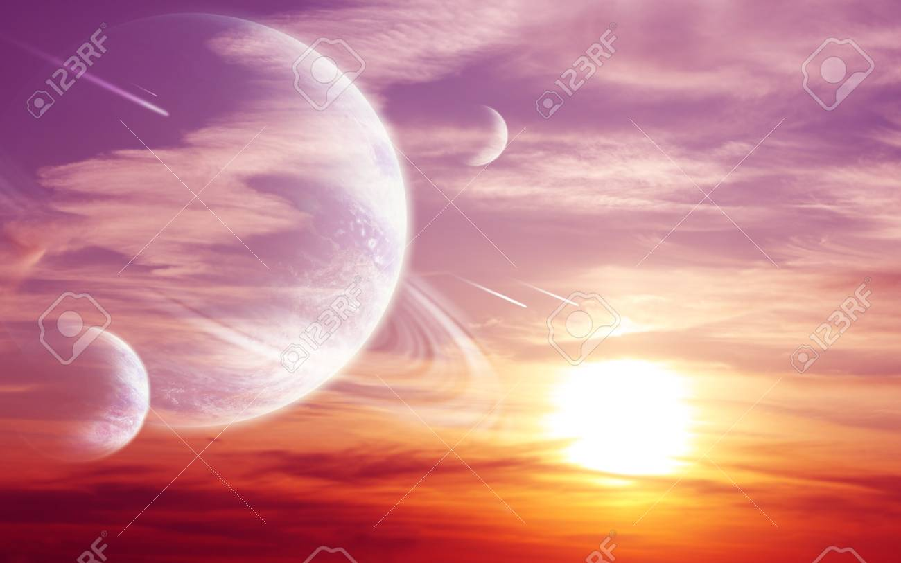 Collage - sunset in alien planet Stock Photo - 8814955