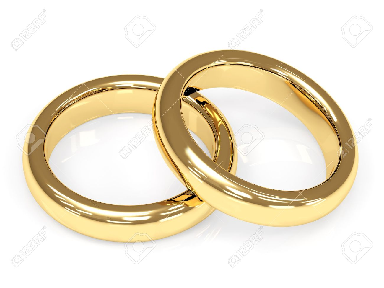 Two 3d gold wedding rings. Objects over white Stock Photo - 8948519