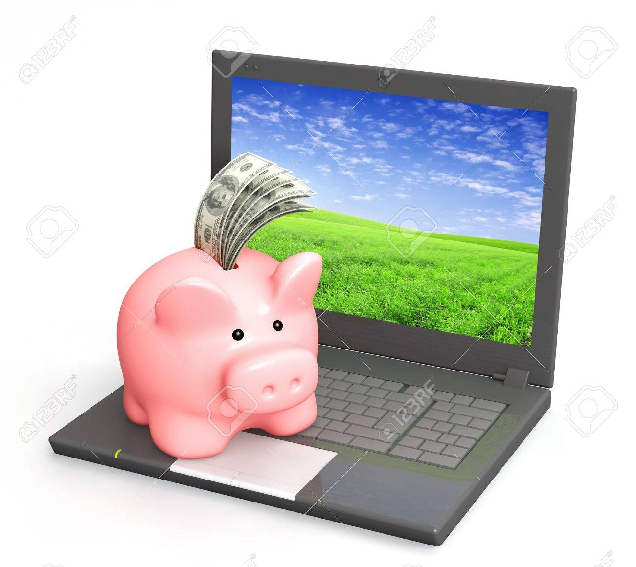 Electronic bank account. Piggy bank and laptop. Objects isolated over white Stock Photo - 8948524