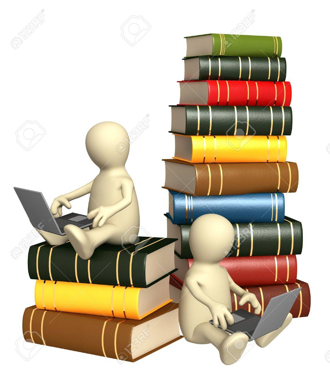 Library online. Two puppets with laptops Stock Photo - 8948510