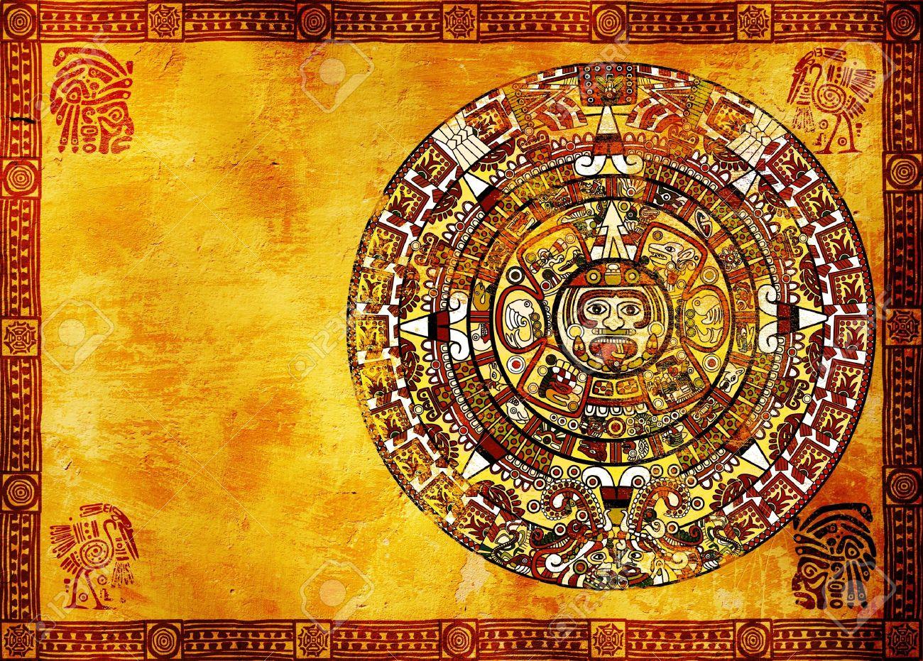 Maya calendar on ancient wall. Horizontal background Stock Photo - 8948633
